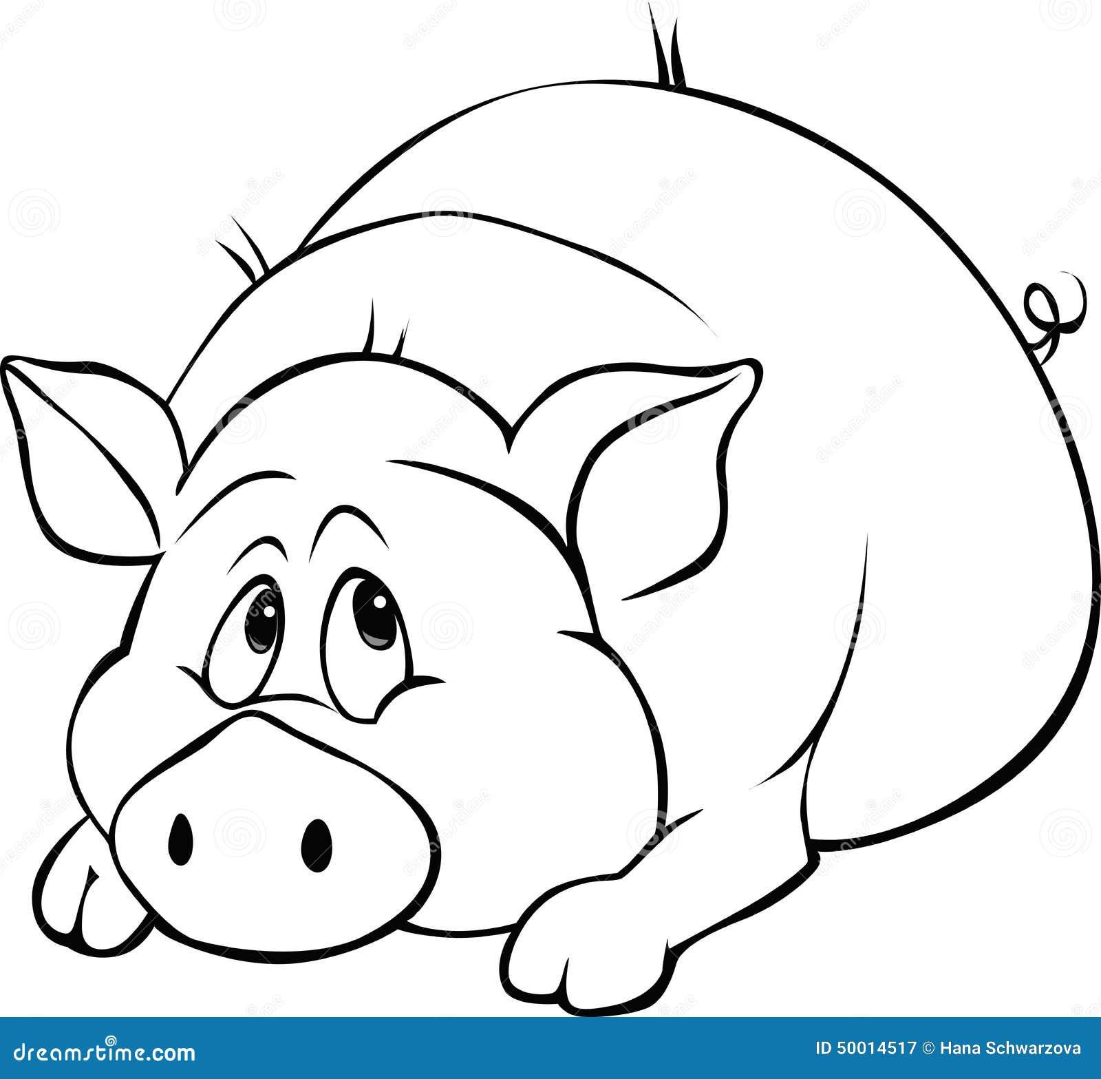 Pig cartoon laying iso...