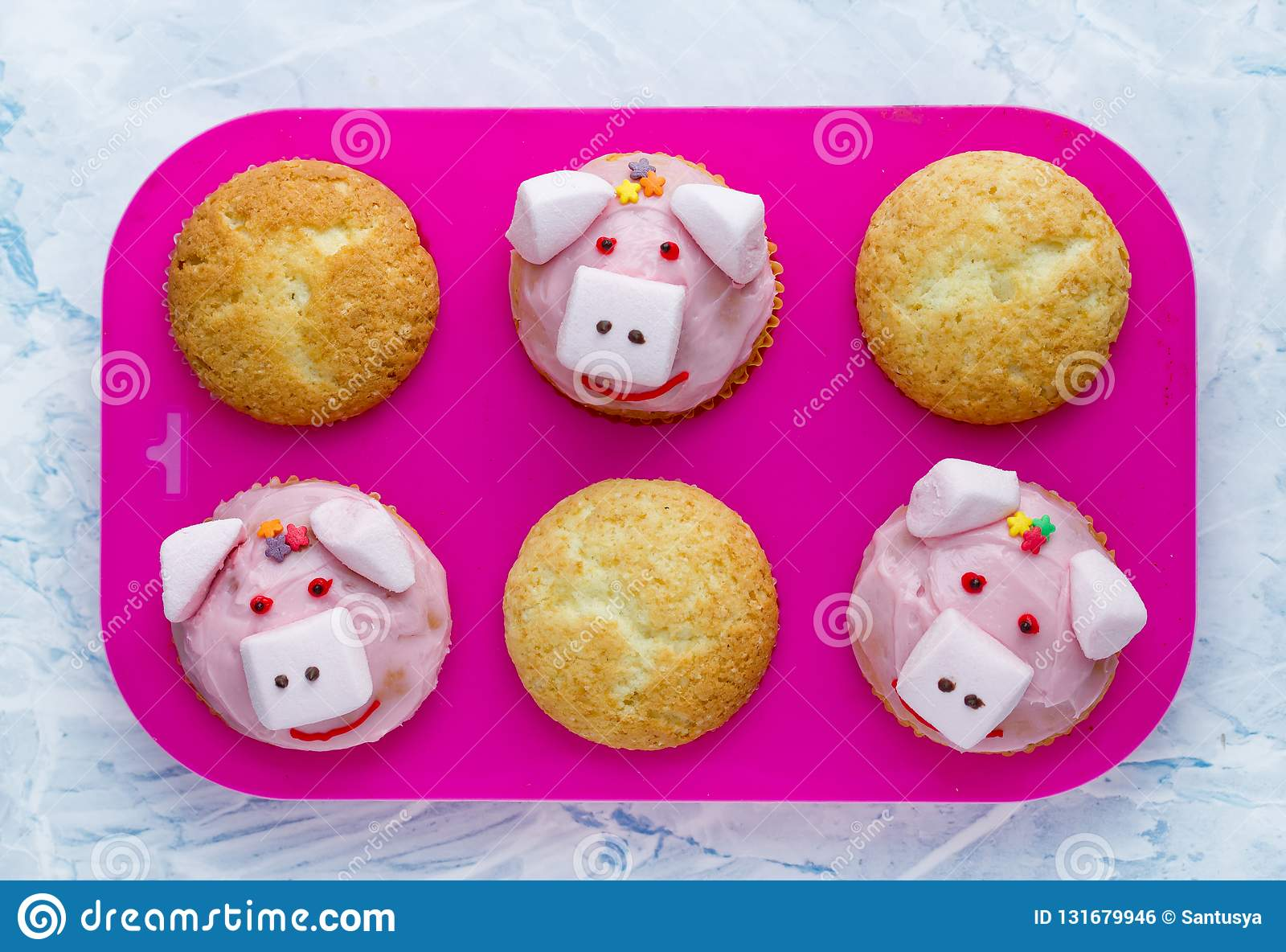 Pig Cupcakes Animal Shaped Funny Cakes For Kids Stock Photo