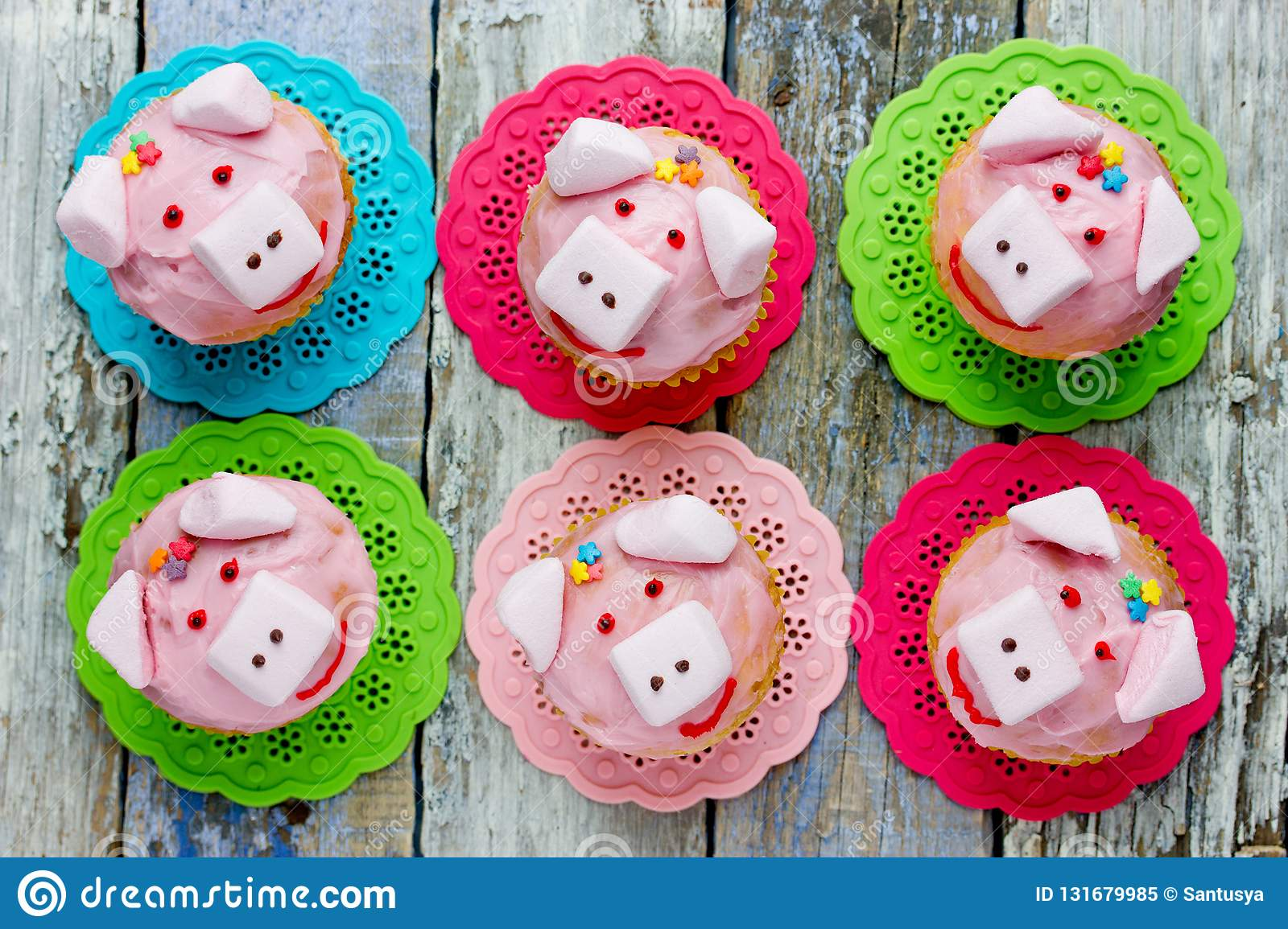 Pig Cupcakes Animal Shaped Funny Cakes For Kids Stock Image