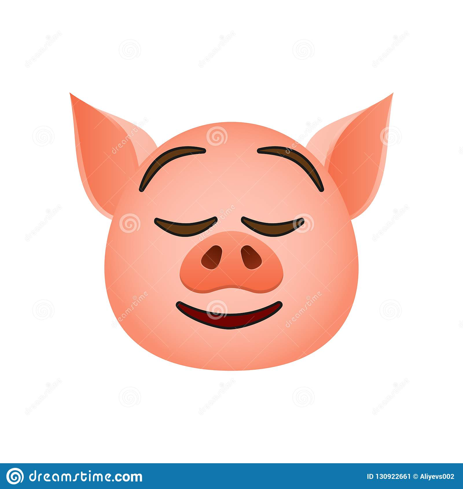 Pig In Easy Pleasant Smile Emoji Icon  Element Of New Year