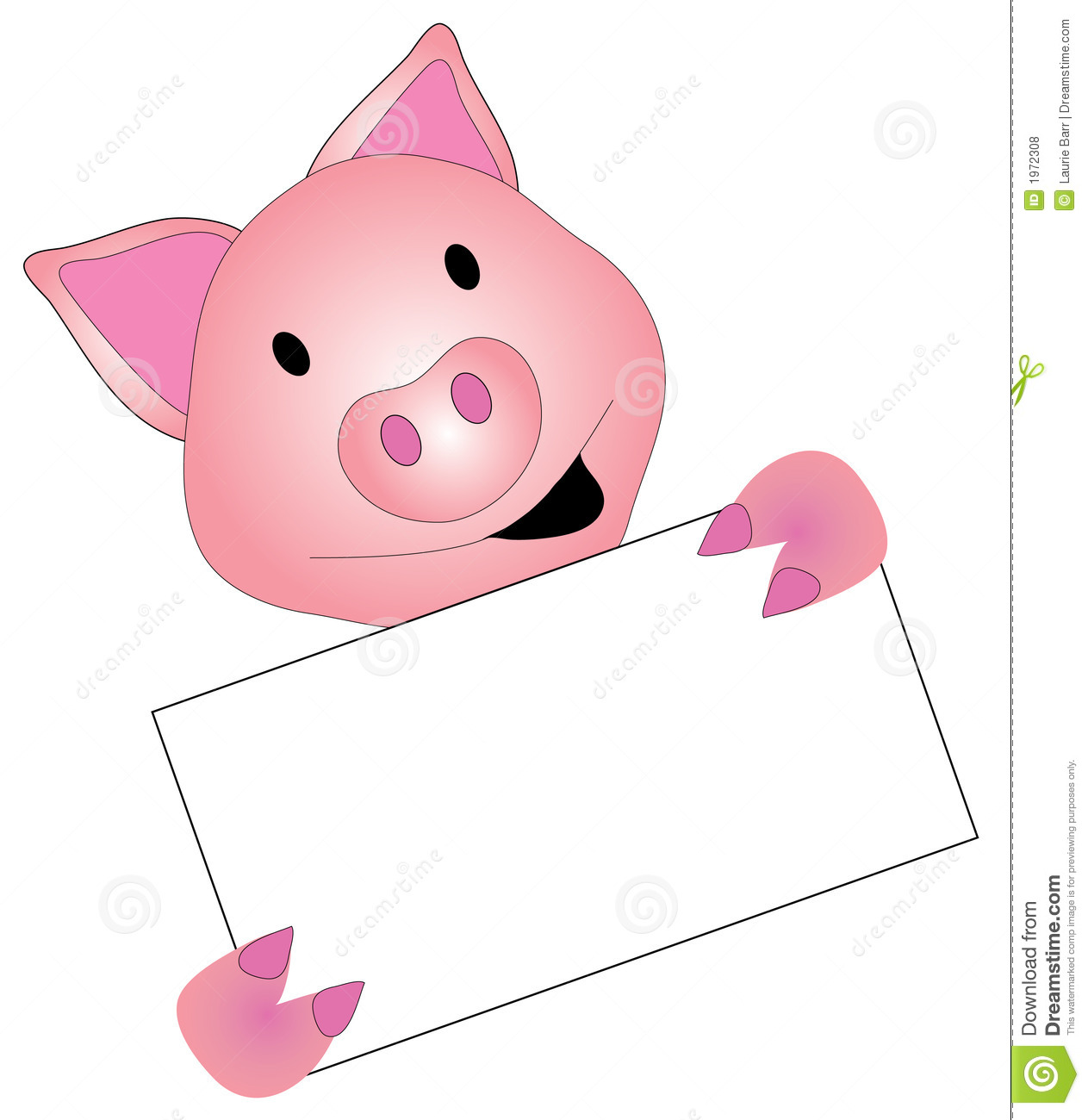 Pig Graphic Holding A Sign Royalty Free Stock Photos - Image: 1972308