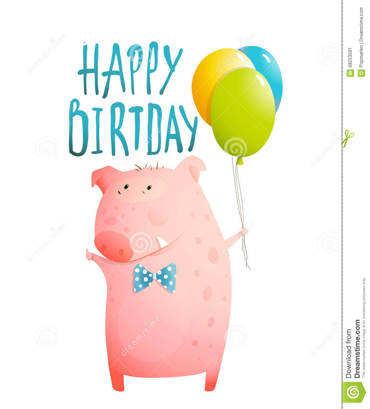Pig Greeting Happy Birthday Card For Children Stock Vector Image 68253591