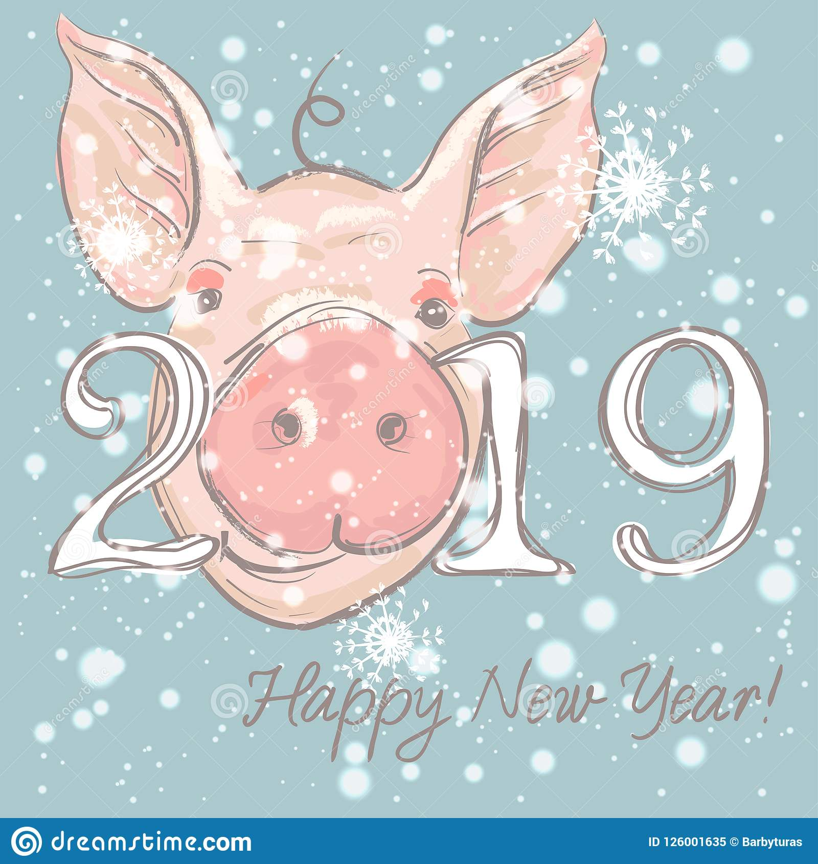 happy new year 2019 funny card design with cartoon pigs face vector illustration
