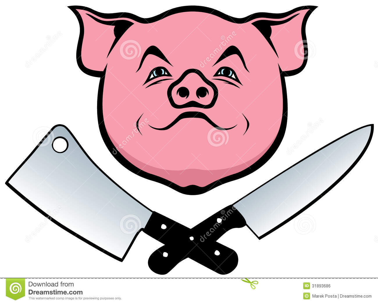 Pig Knife And Cleaver Stock Vector Illustration Of