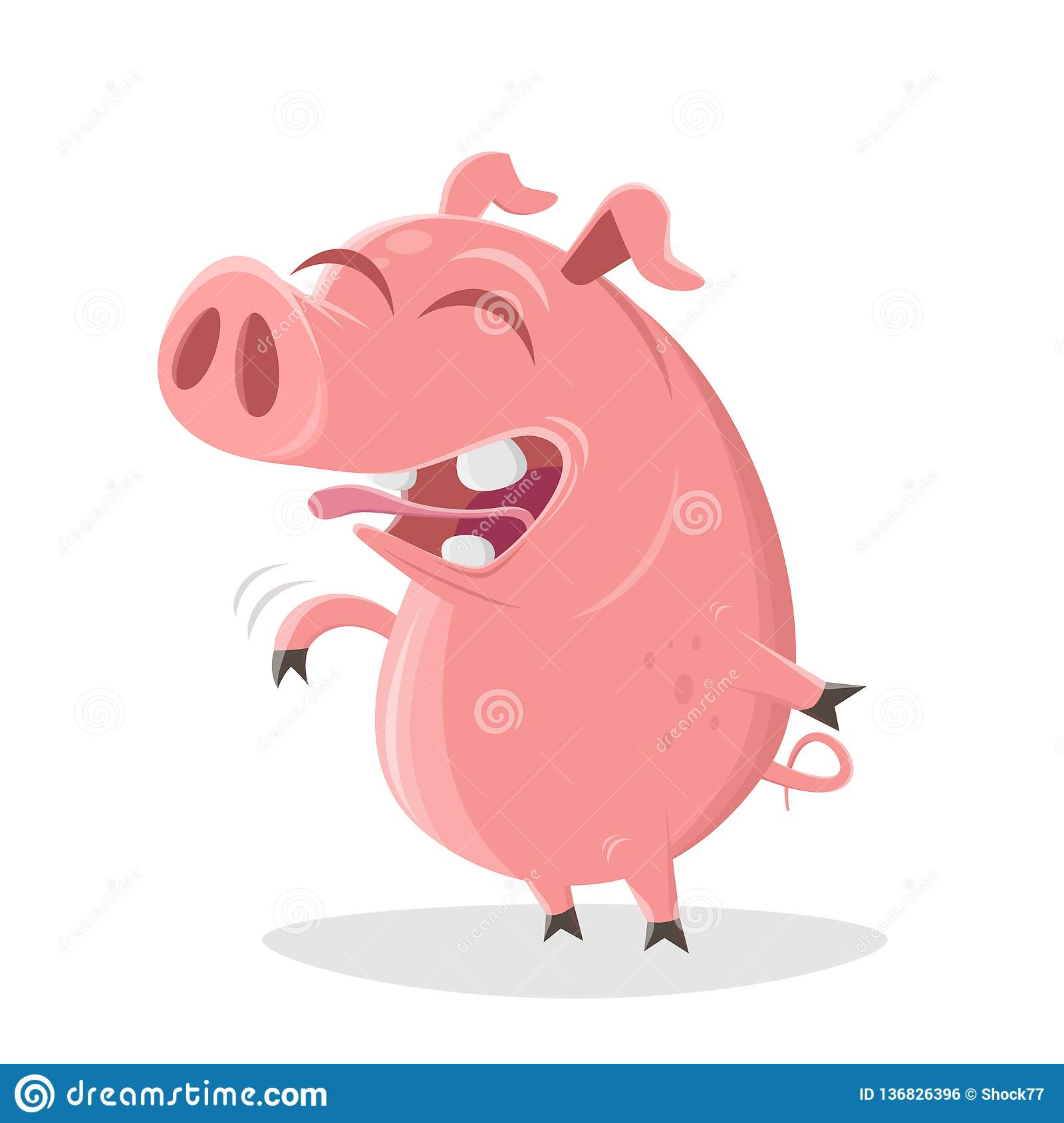 Pig is laughing about a good joke