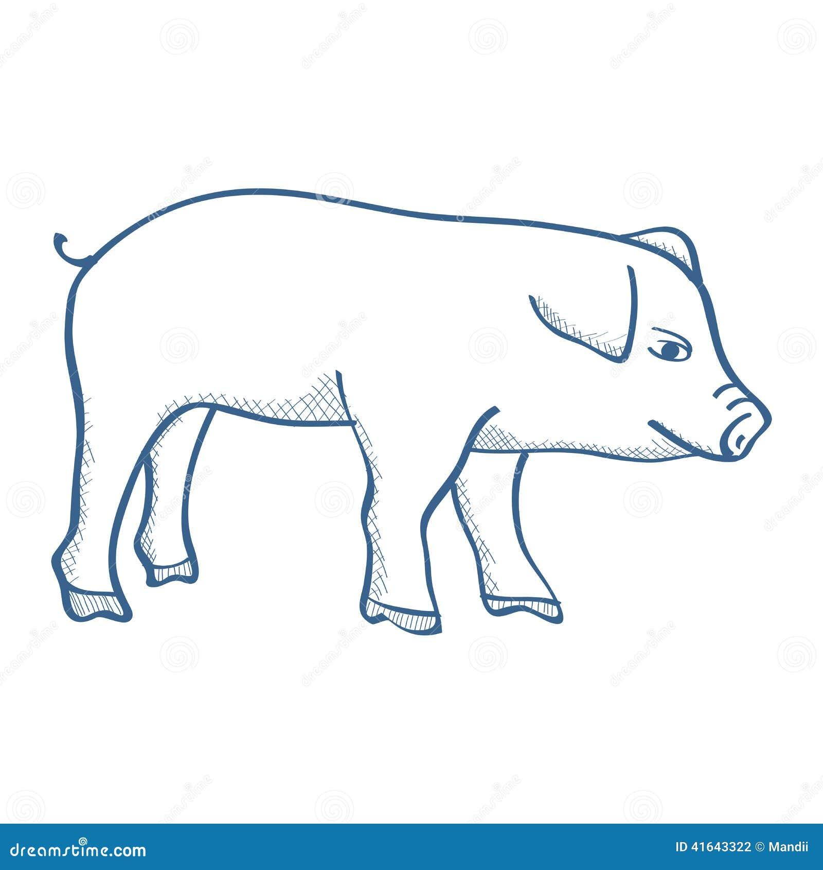 Line Drawing Pig : Pig stock illustration image of pigling wildlife line