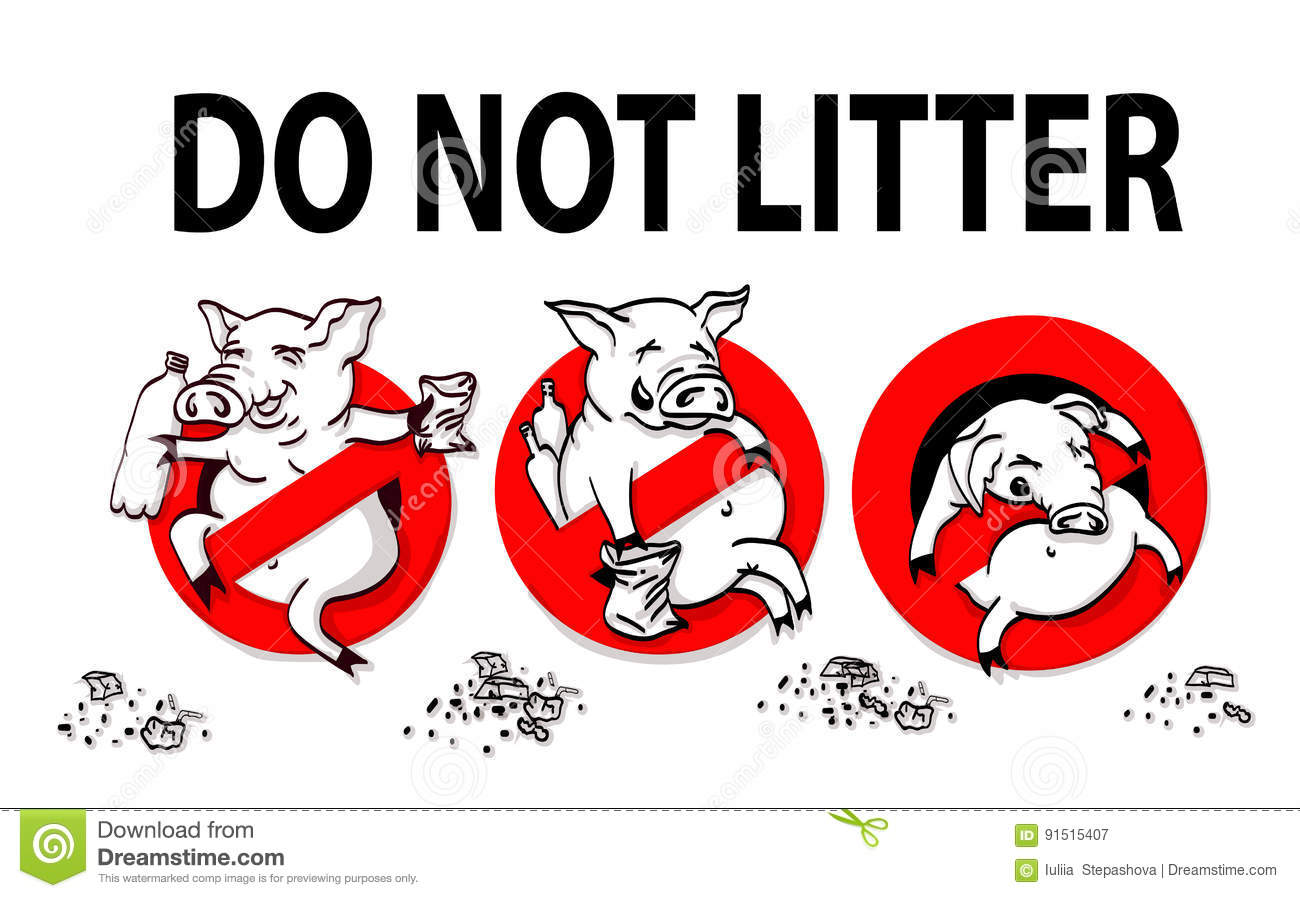 Pig Line Icon In Prohibition Red Circle No Littering Ban Sign