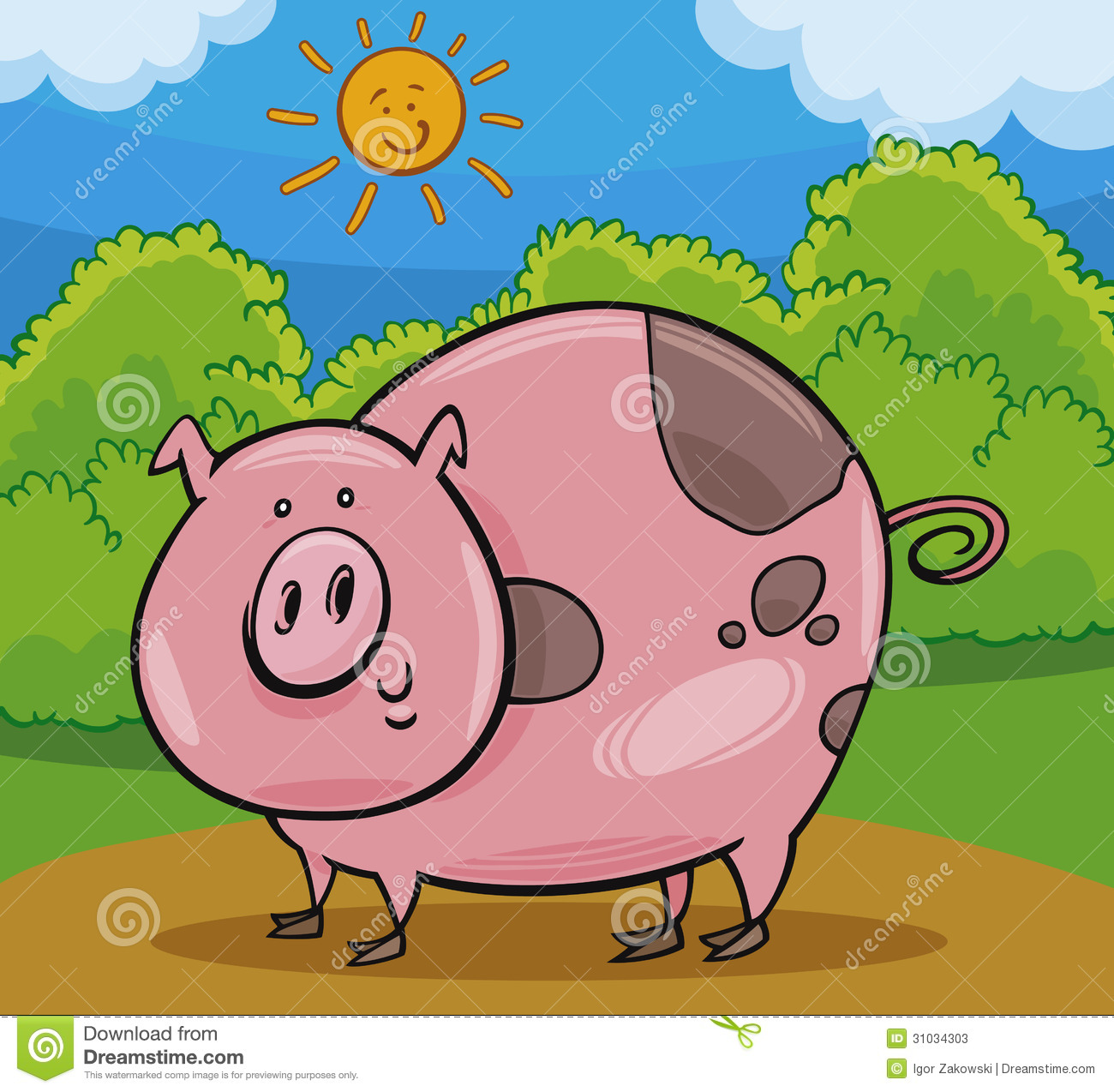 Pig Livestock Animal Cartoon Illustration Of Happy Farm Stock Photos