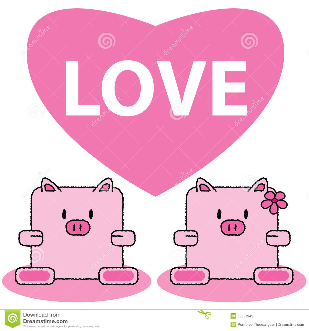 Pig In Love Royalty Free Stock Photo - Image: 33057345