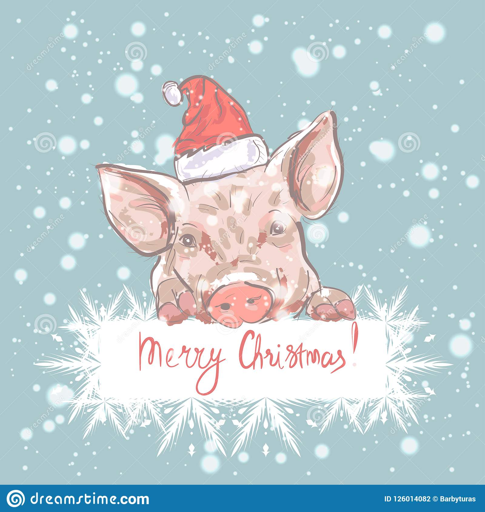 Pig merry christmas funny card design with cartoon pig in santas merry christmas funny card design with cartoon pig in santas hat m4hsunfo