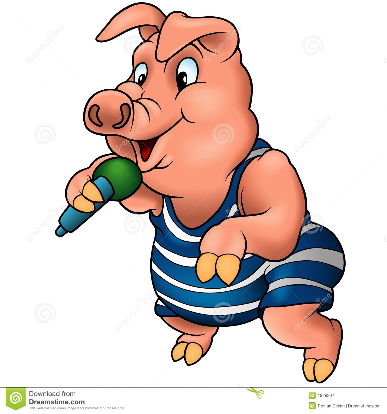 Pig With Microphone Royalty Free Stock Photography Image