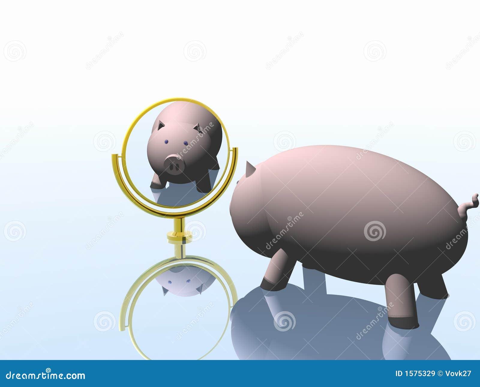 Pig before a mirror  2007 stock illustration  Illustration