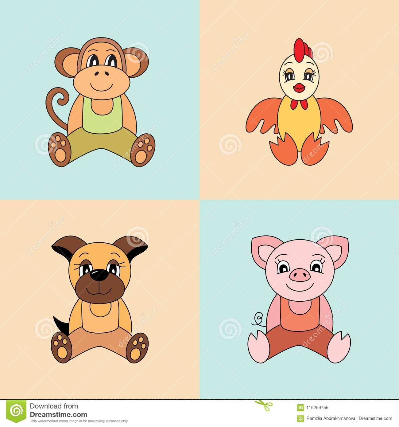 4a96962a1 Pig and monkey, rooster and dog, Vector symbols of the Chinese horoscope  2019, 2028, 2029 and 2030, 2031 years. Cute animals: piggy, puppy and  chicken