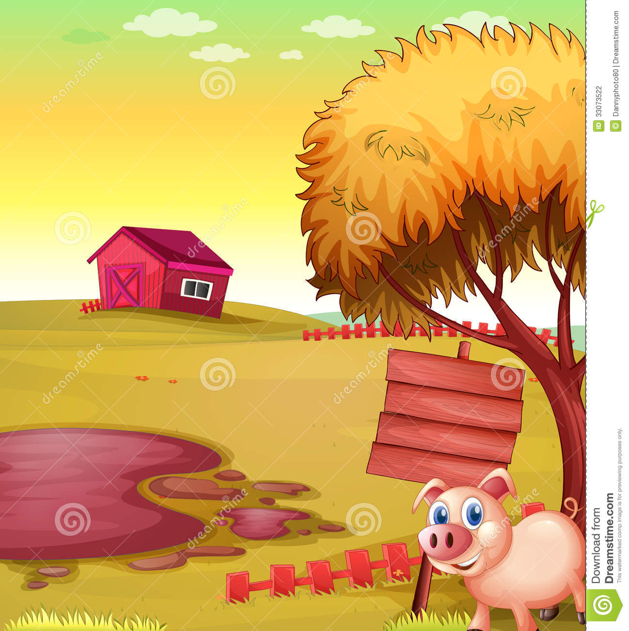 A Pig Outside The Fence With An Empty Signboard And Barn