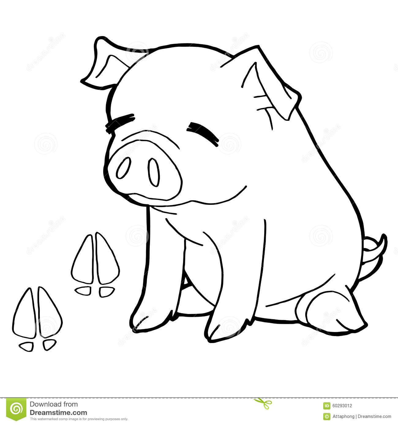 Pig With Paw Print Coloring Pages Vector Stock Vector - Illustration ...