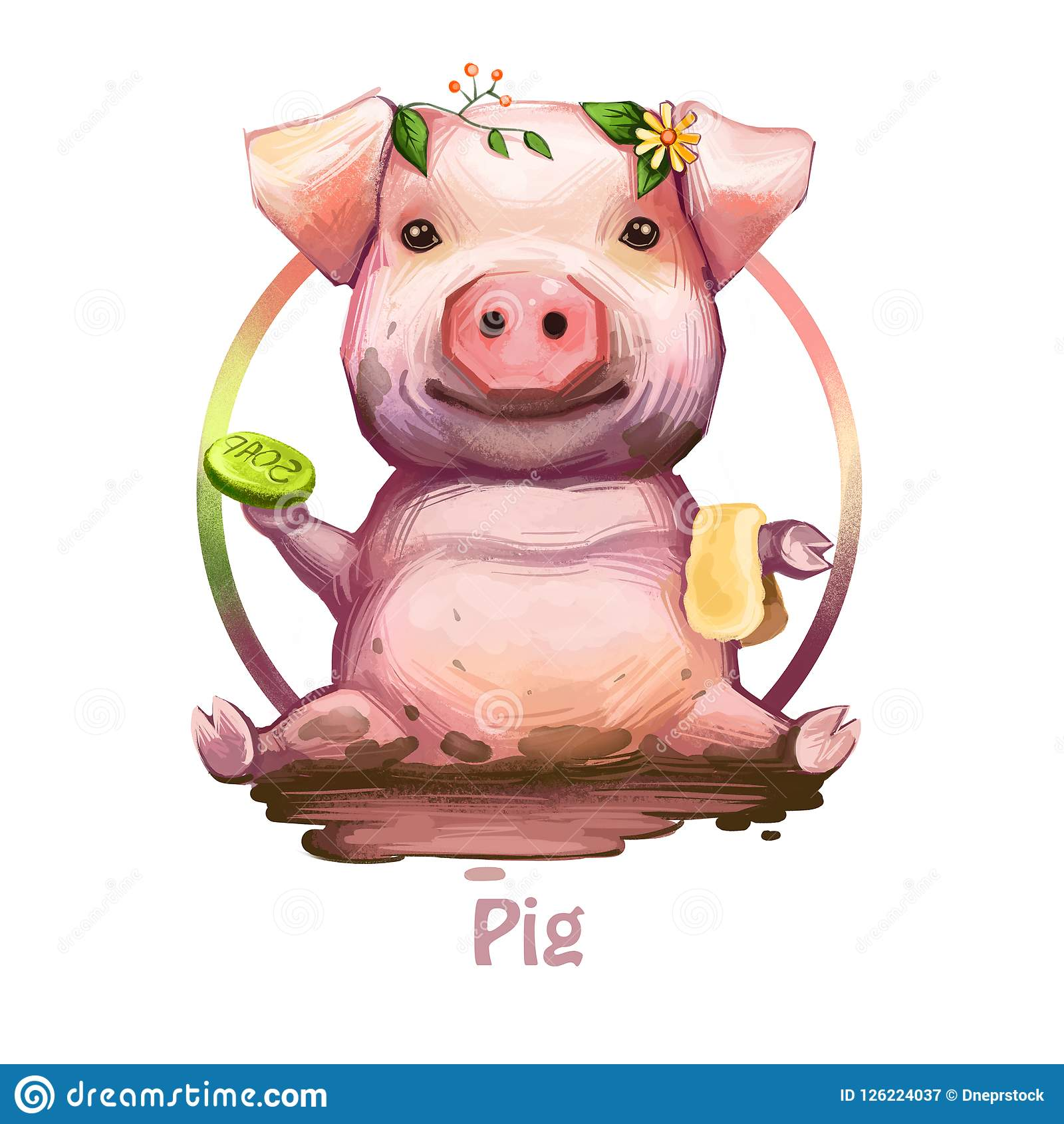 Pig with positive emotions holding soap and sponge digital art. Isolated icon of swine sitting in dirt, wearing plants