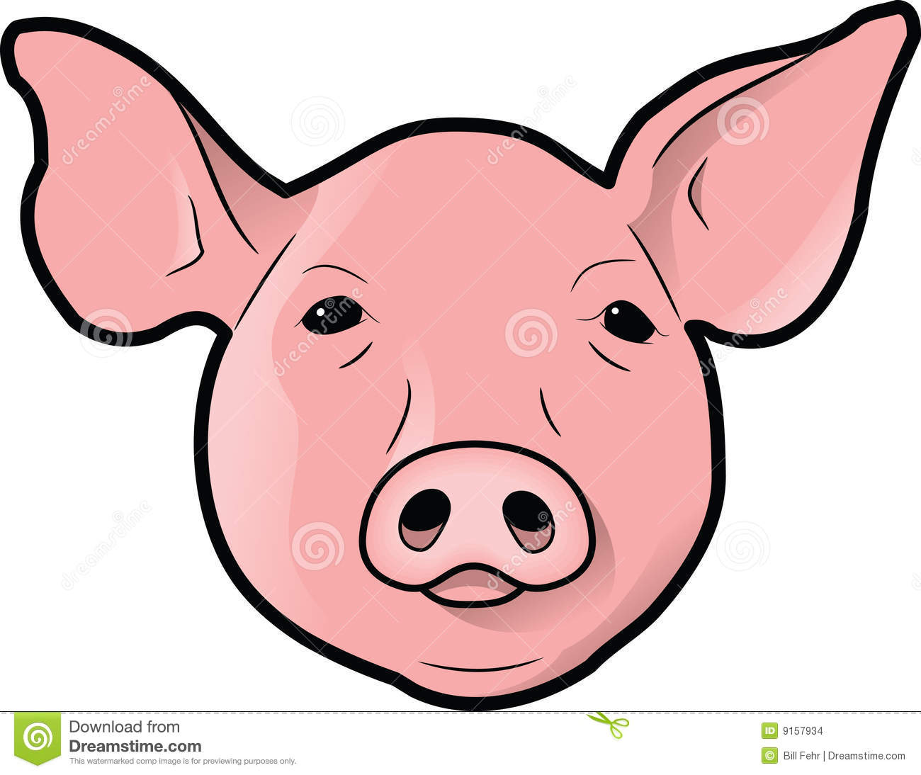Cartoon pig head on a stick - photo#10