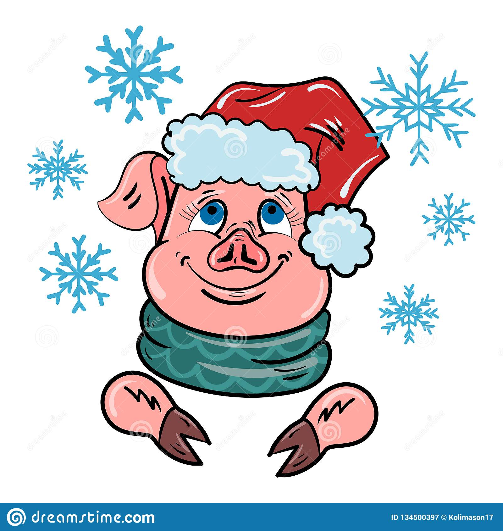 A Pig In A Santa Claus Hat Is Watching The Falling Snow ...