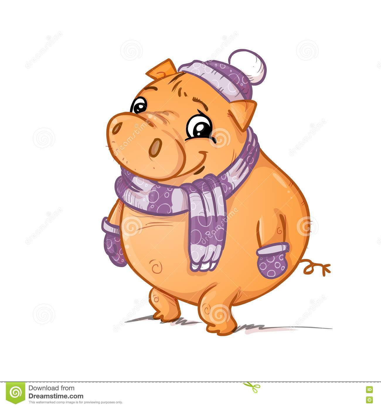A pig with scarf gloves and hat