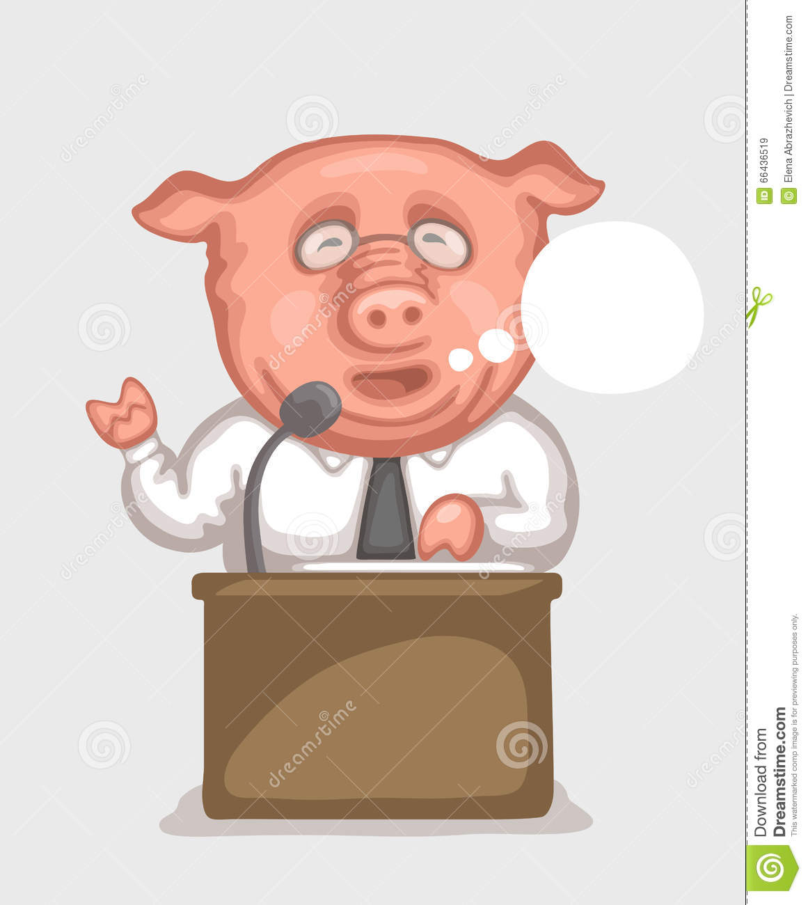 Pig-speaker Behind A Tribune Stock Vector - Image: 66436519