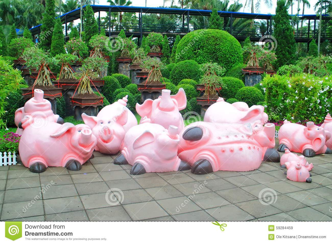 Charmant Download Pig Statue In Garden Stock Image. Image Of Image, Cute   59284459