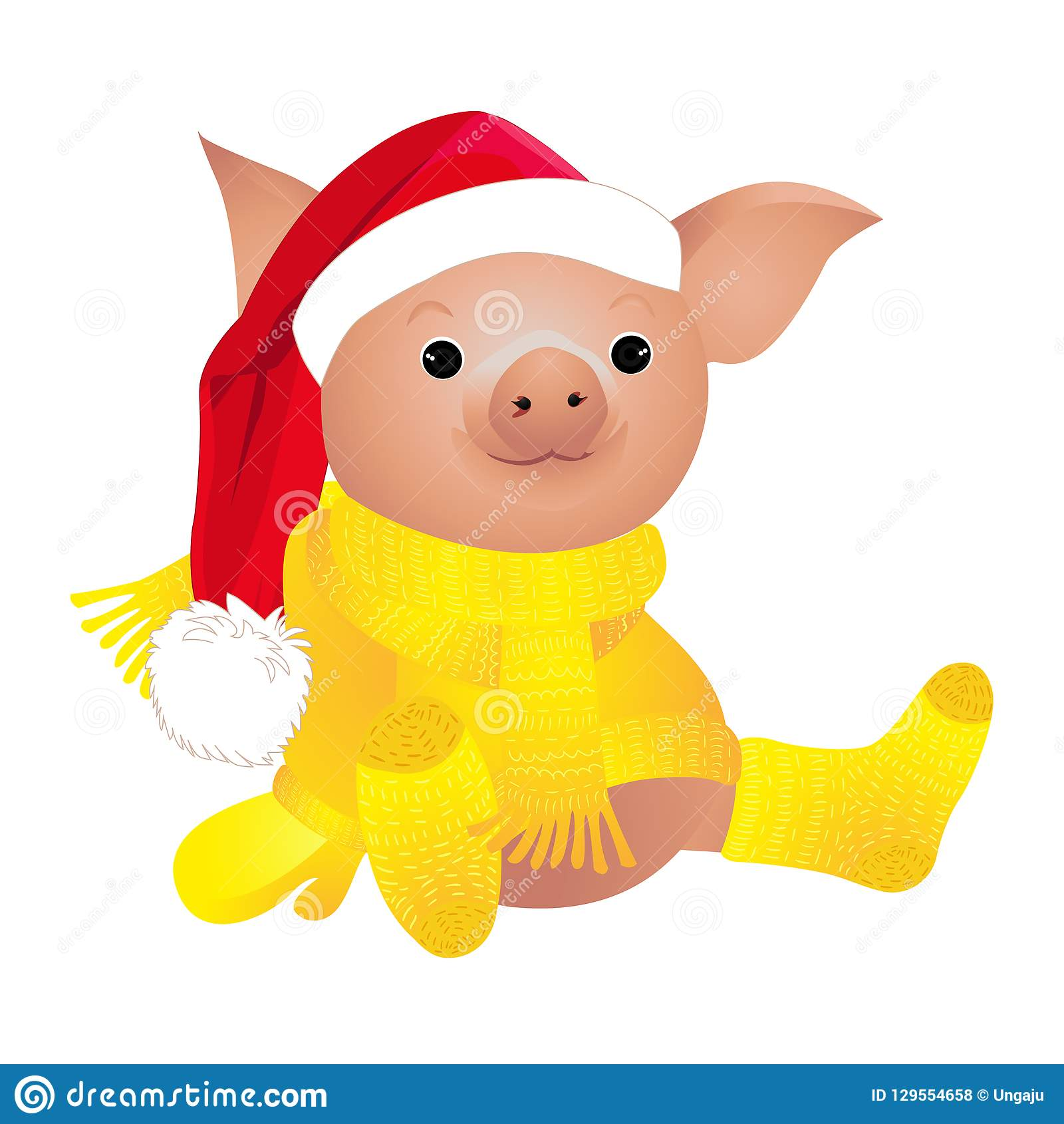 Pig in sweater. 2019 Chinese New Year of the Pig. Christmas greeting card. Isolated on a white background.