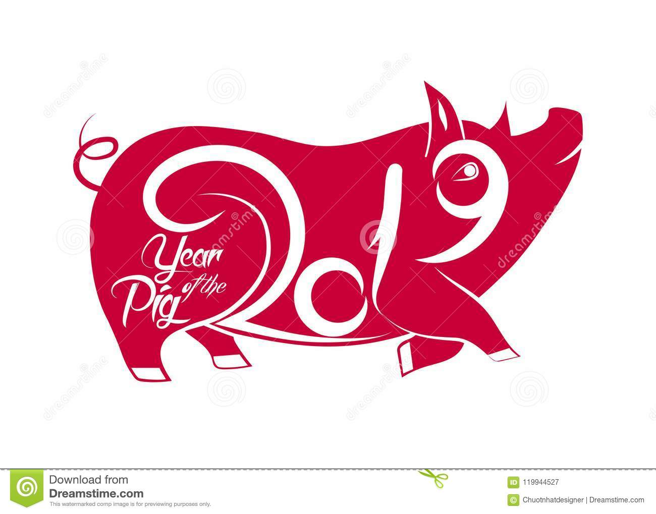Pig Is A Symbol Of The 2019 Chinese New Year Stock Vector