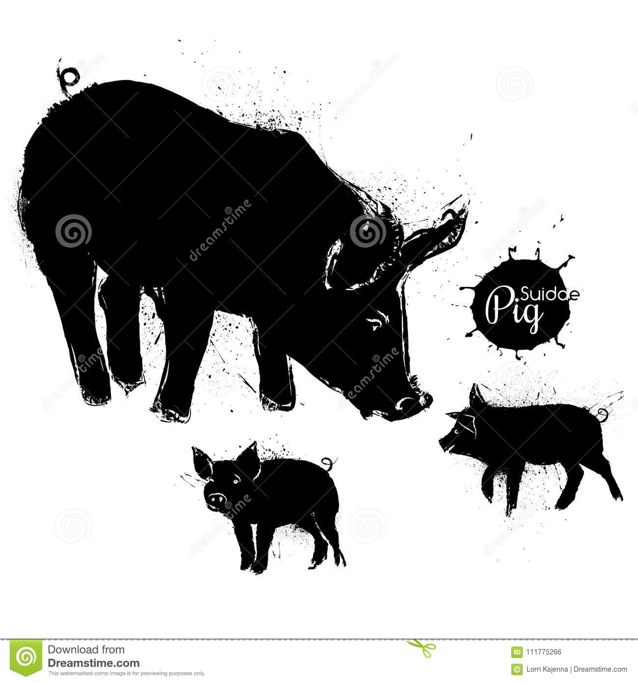 Pig and two little pigs grunge illustration