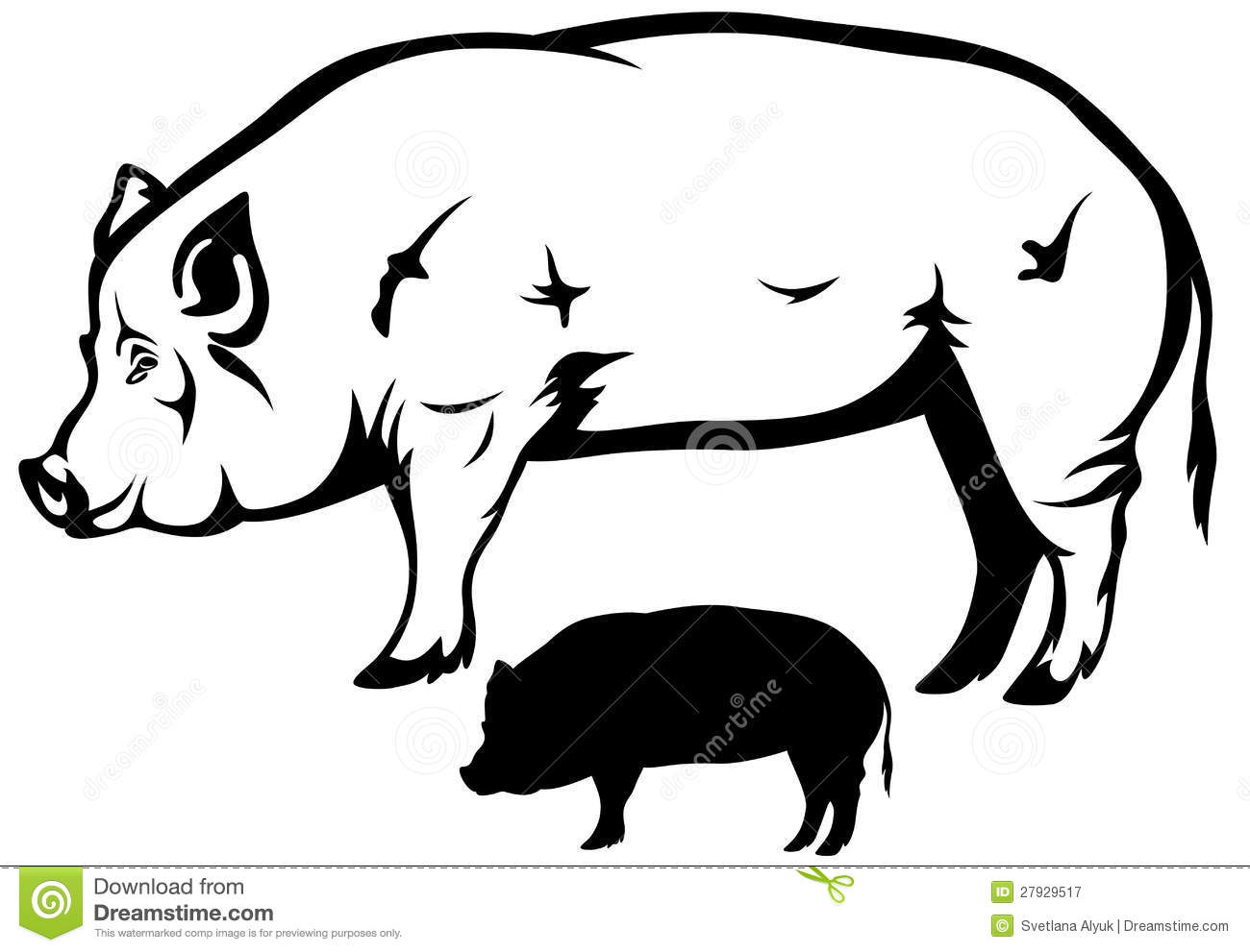 Pig vector stock vector. Illustration of cute, snout ...