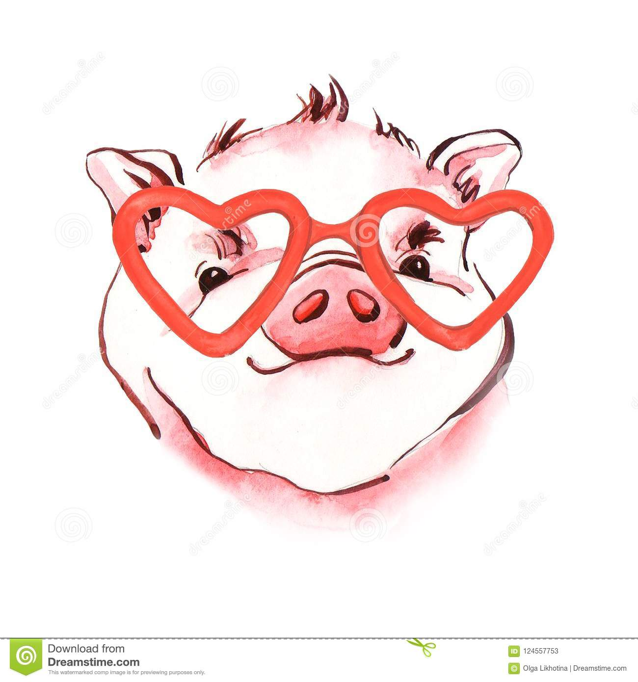 pig watercolor illustration of hand painted symbol of new year