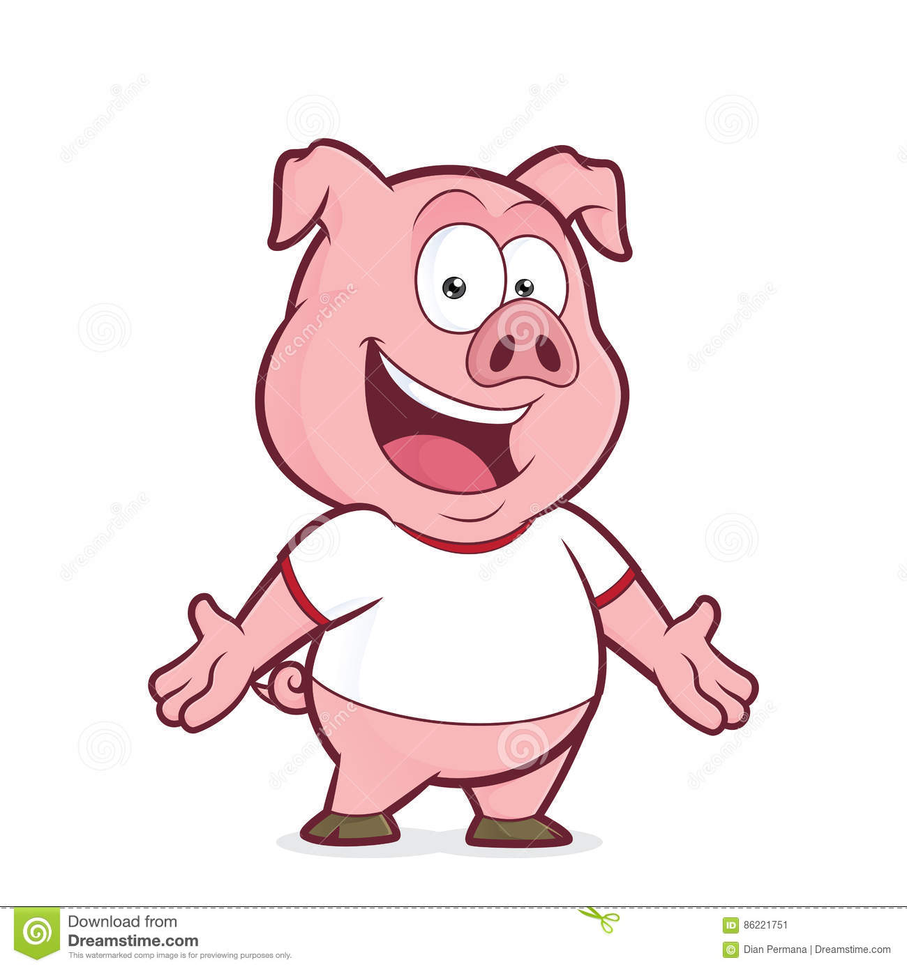 Pig Wearing A White T Shirt Stock Vector - Illustration of ...