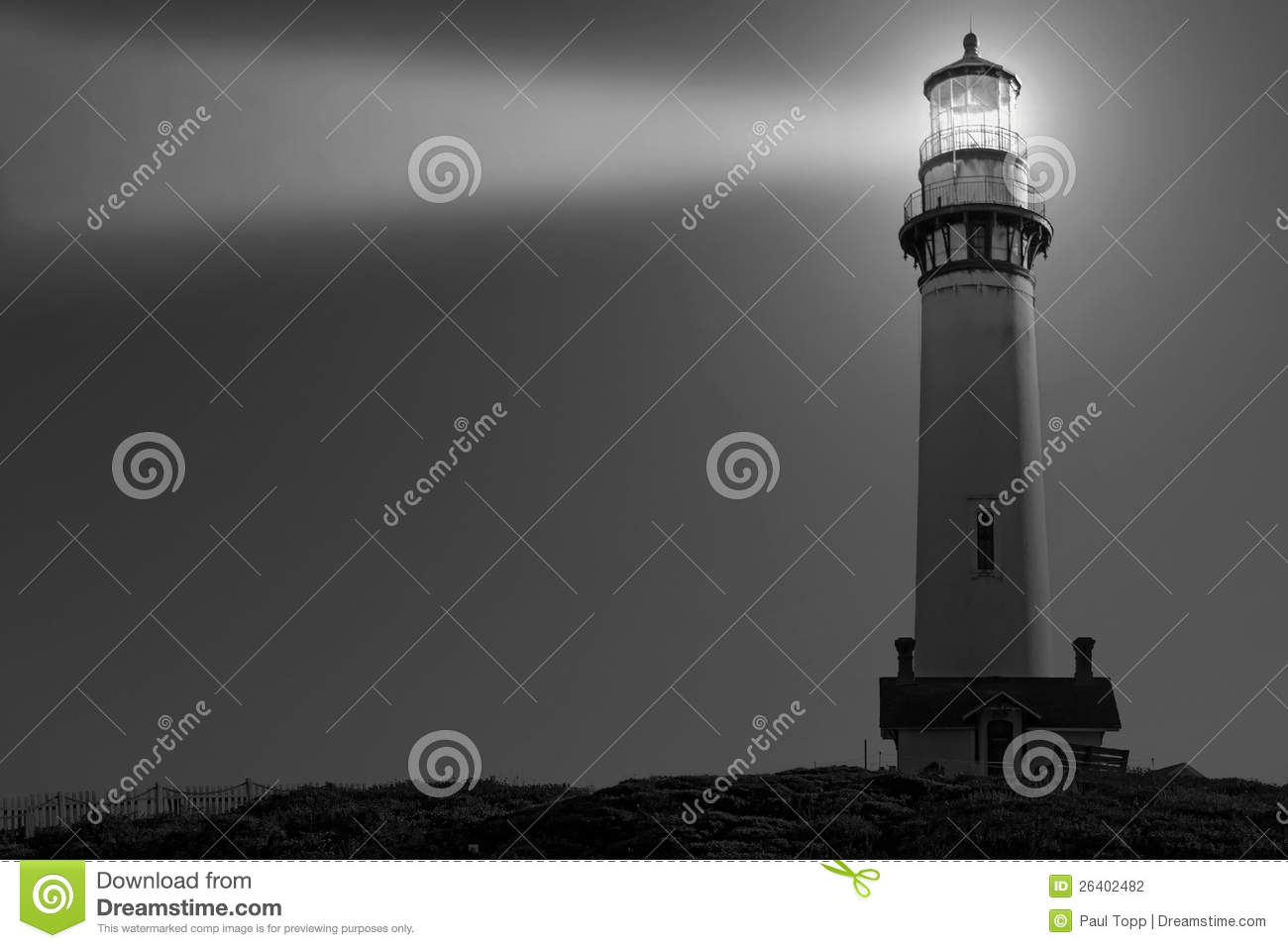 Pigeon point lighthouse in black and white stock photo image of
