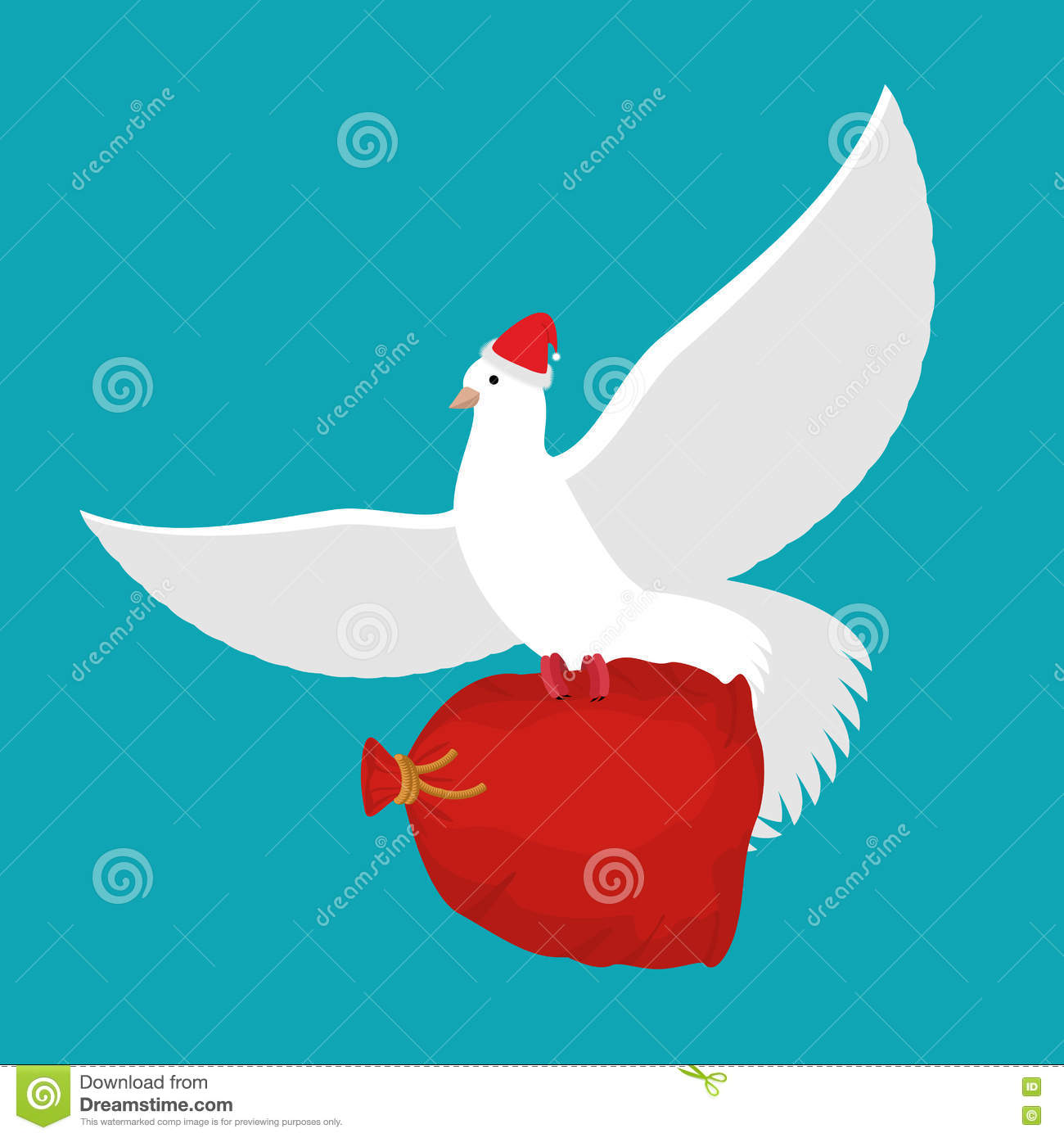 Pigeon Santa Claus carries sack with gifts. Red bag for toys and