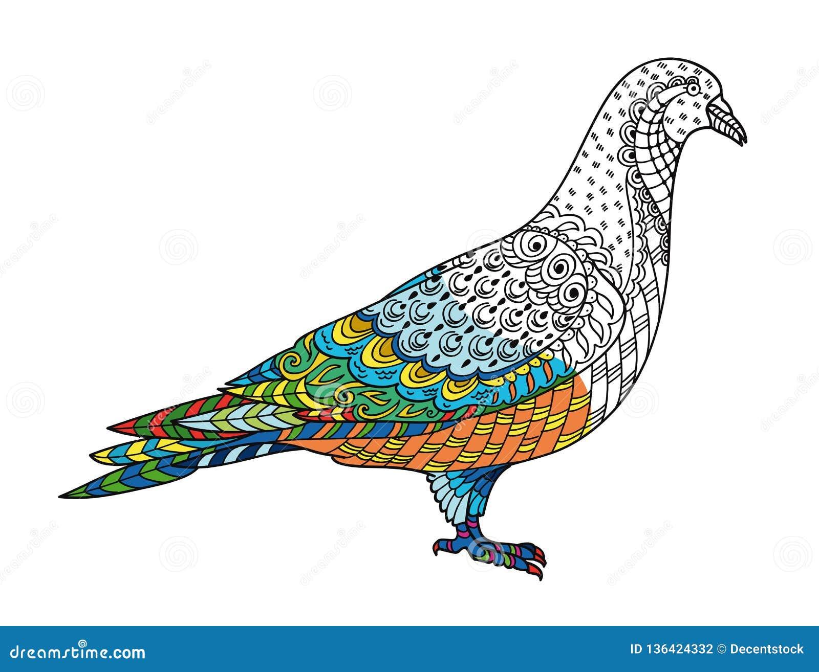 Coloriage Adulte Eglise.Pigeon Stylise De Dessin De Colombe Croquis A Main Levee Pour L Anti