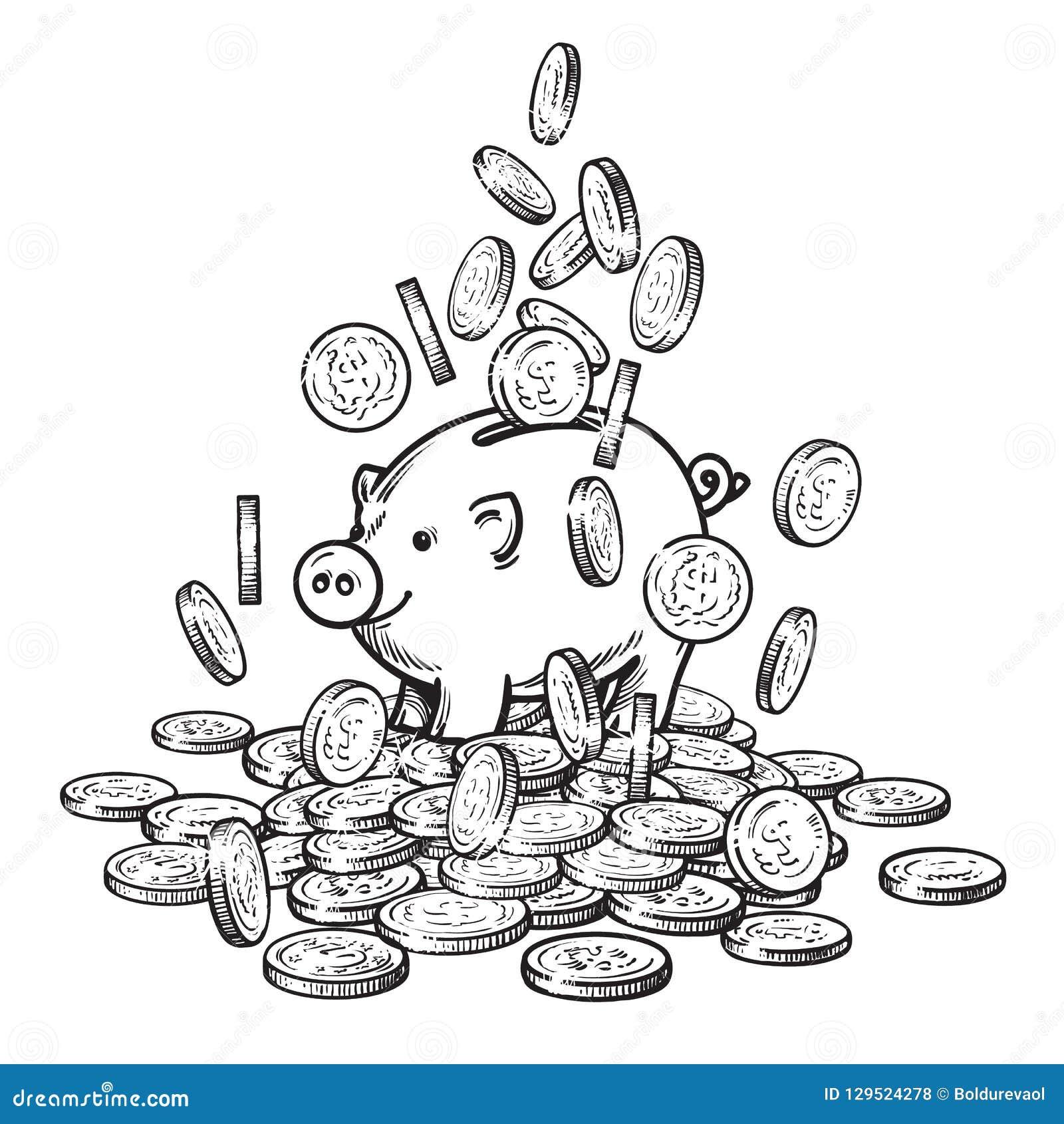 Piggy τράπεζα κινούμενων σχεδίων μεταξύ των μειωμένων νομισμάτων στο μεγάλο σωρό των χρημάτων 2019 κινεζικό νέο σύμβολο Yea Γραπτ