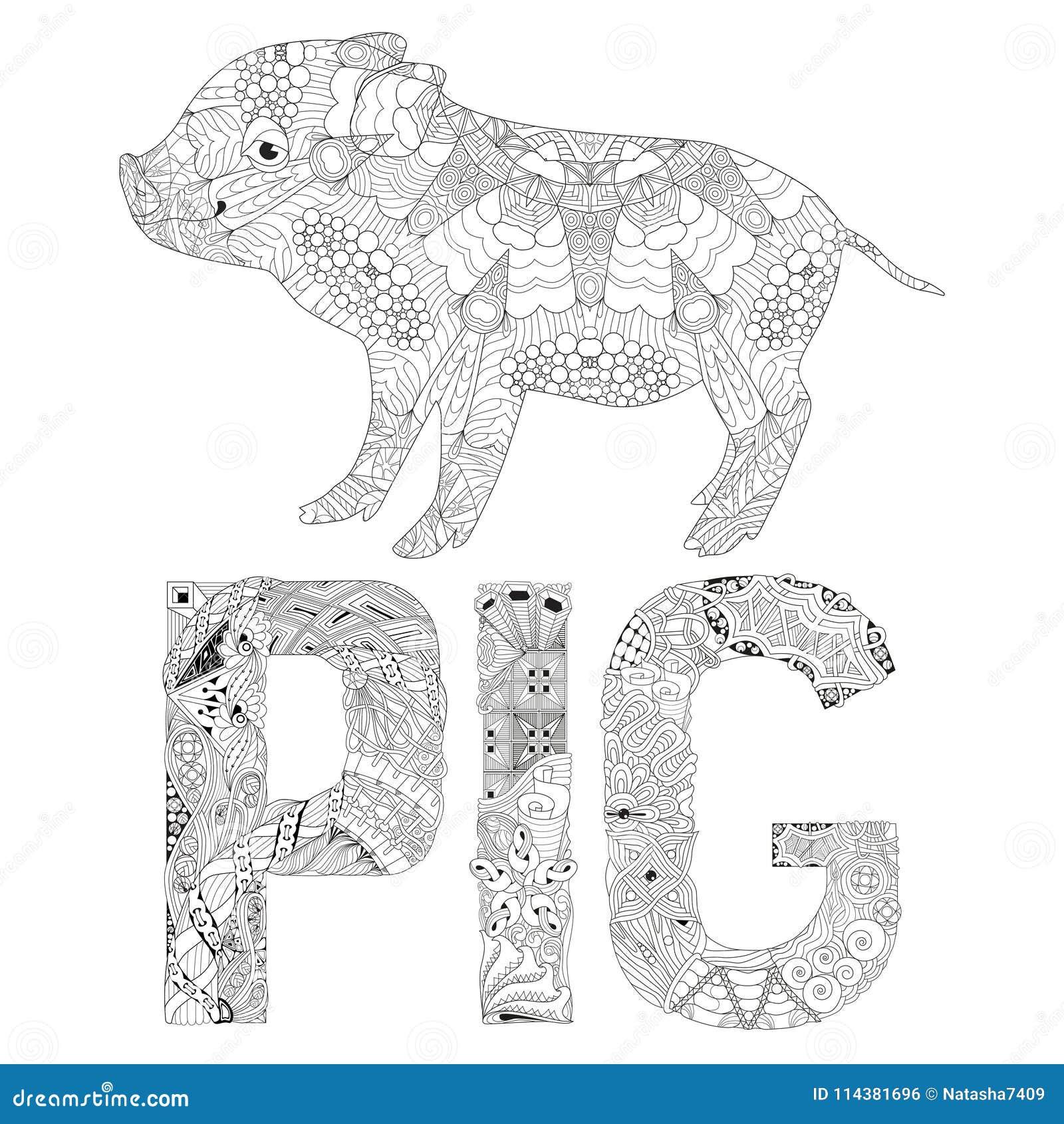 Piggy для книжка-раскраски для вектора взрослых ...