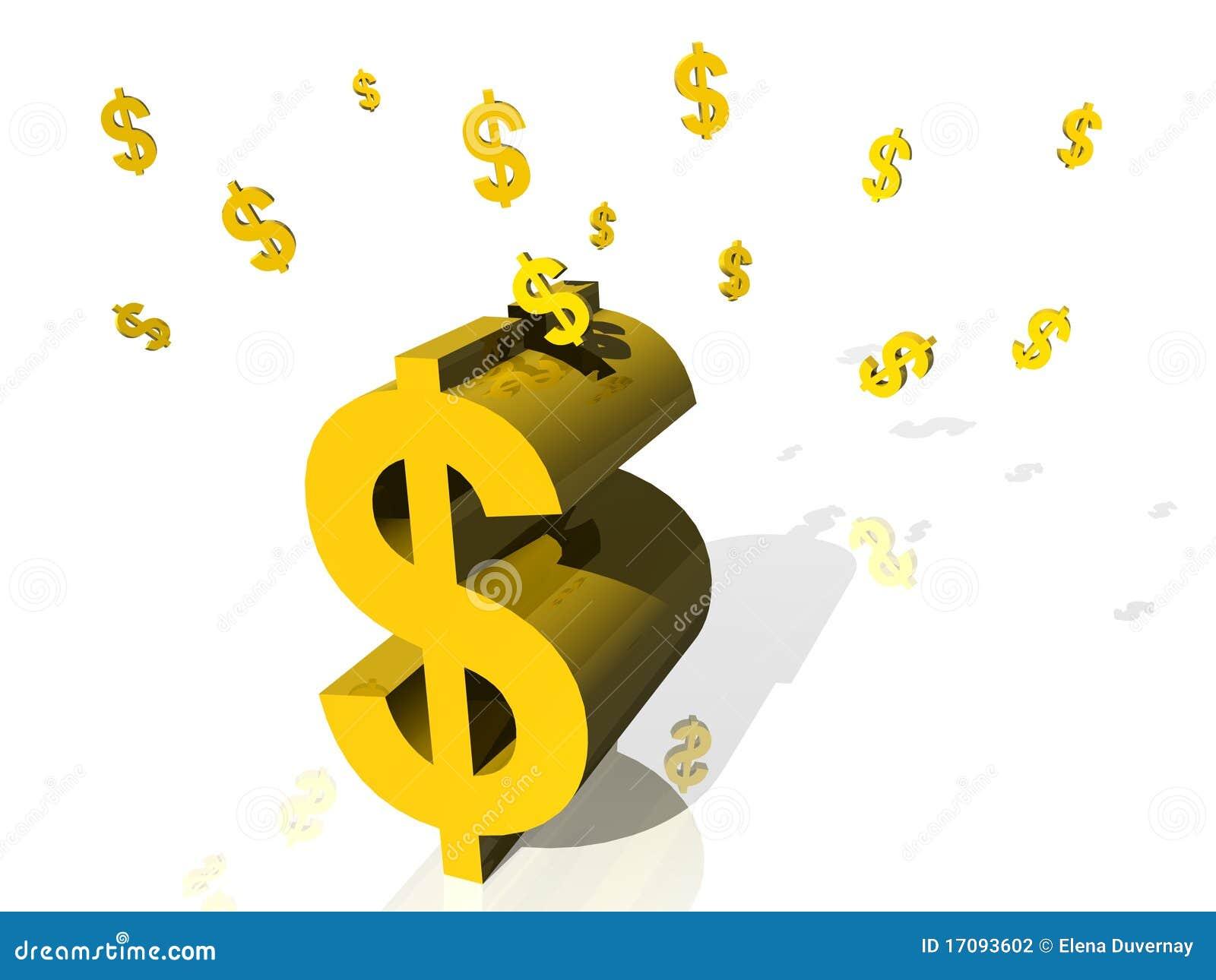 Piggy доллара банка золотистое
