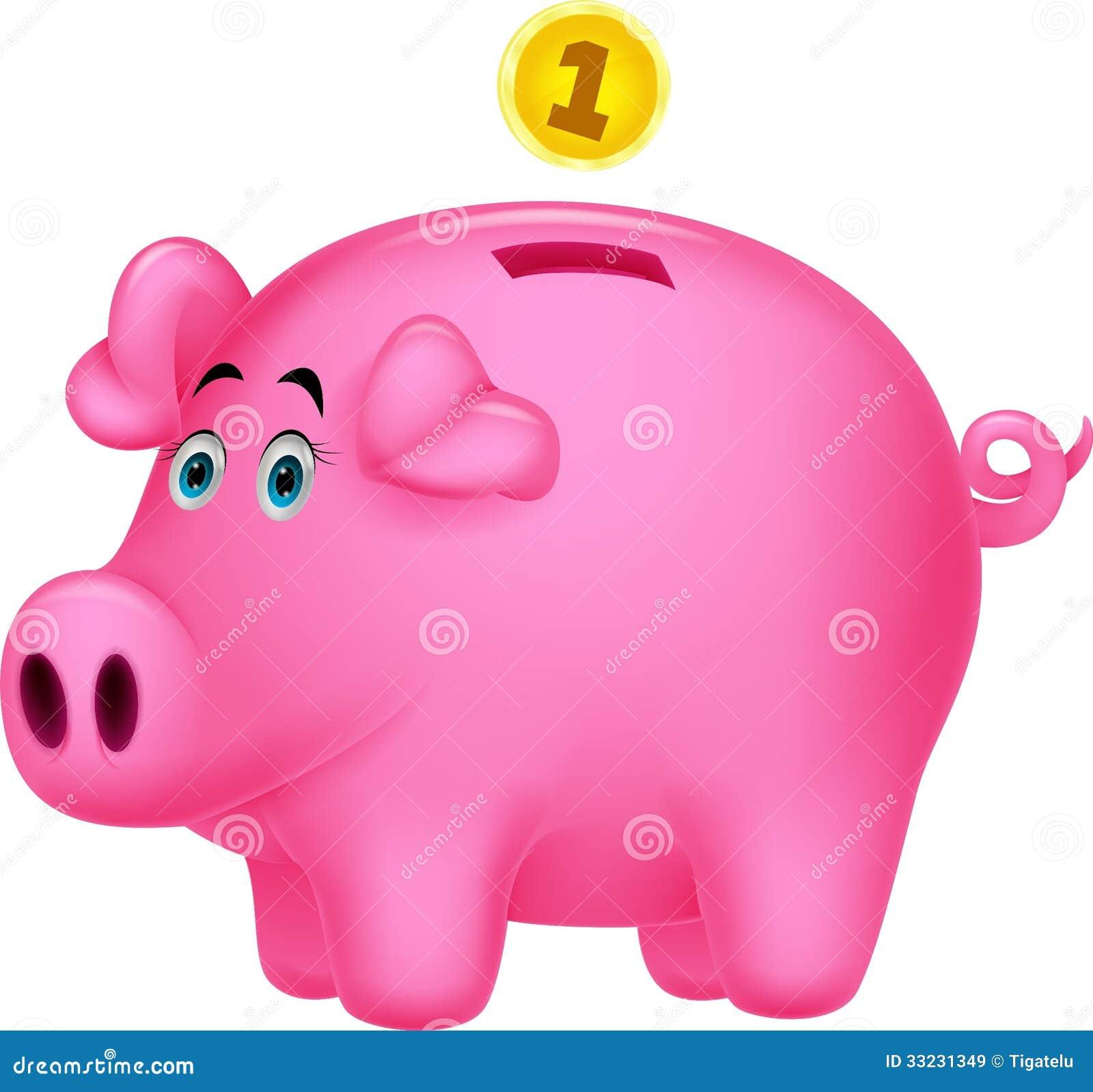 Piggy Bank Cartoon Stock Vector. Image Of Mascot, Keep