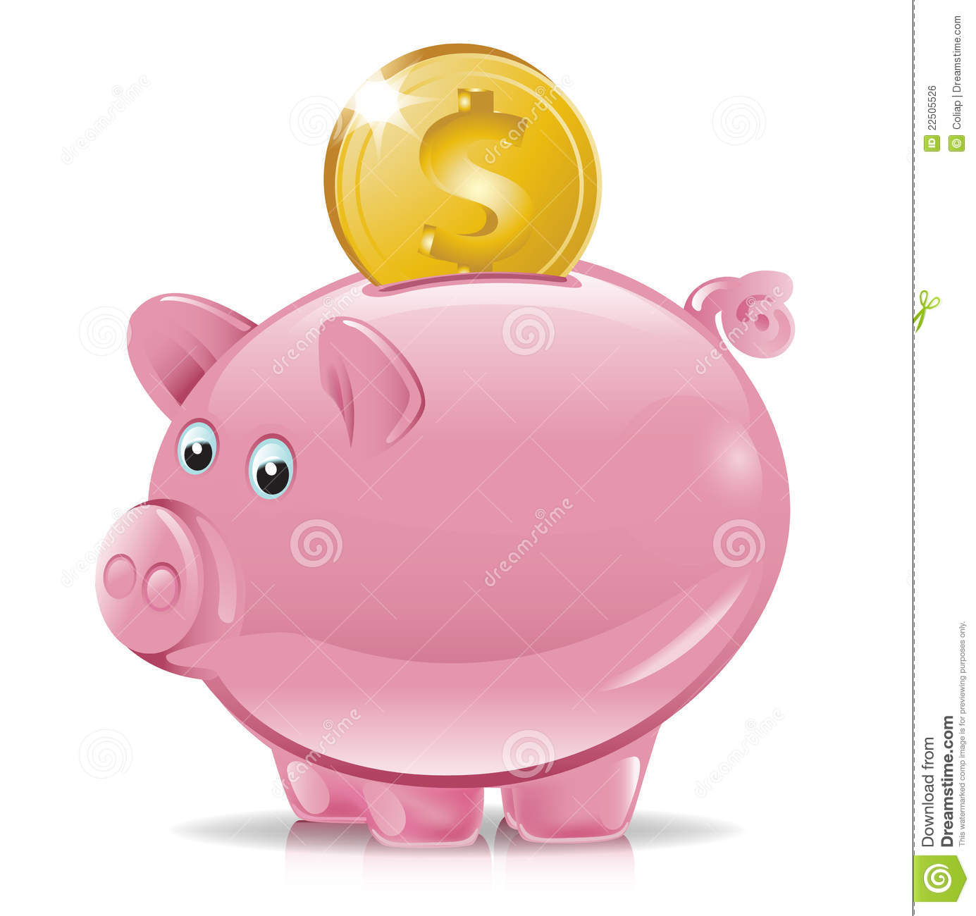 Piggy bank with golden coin falling.