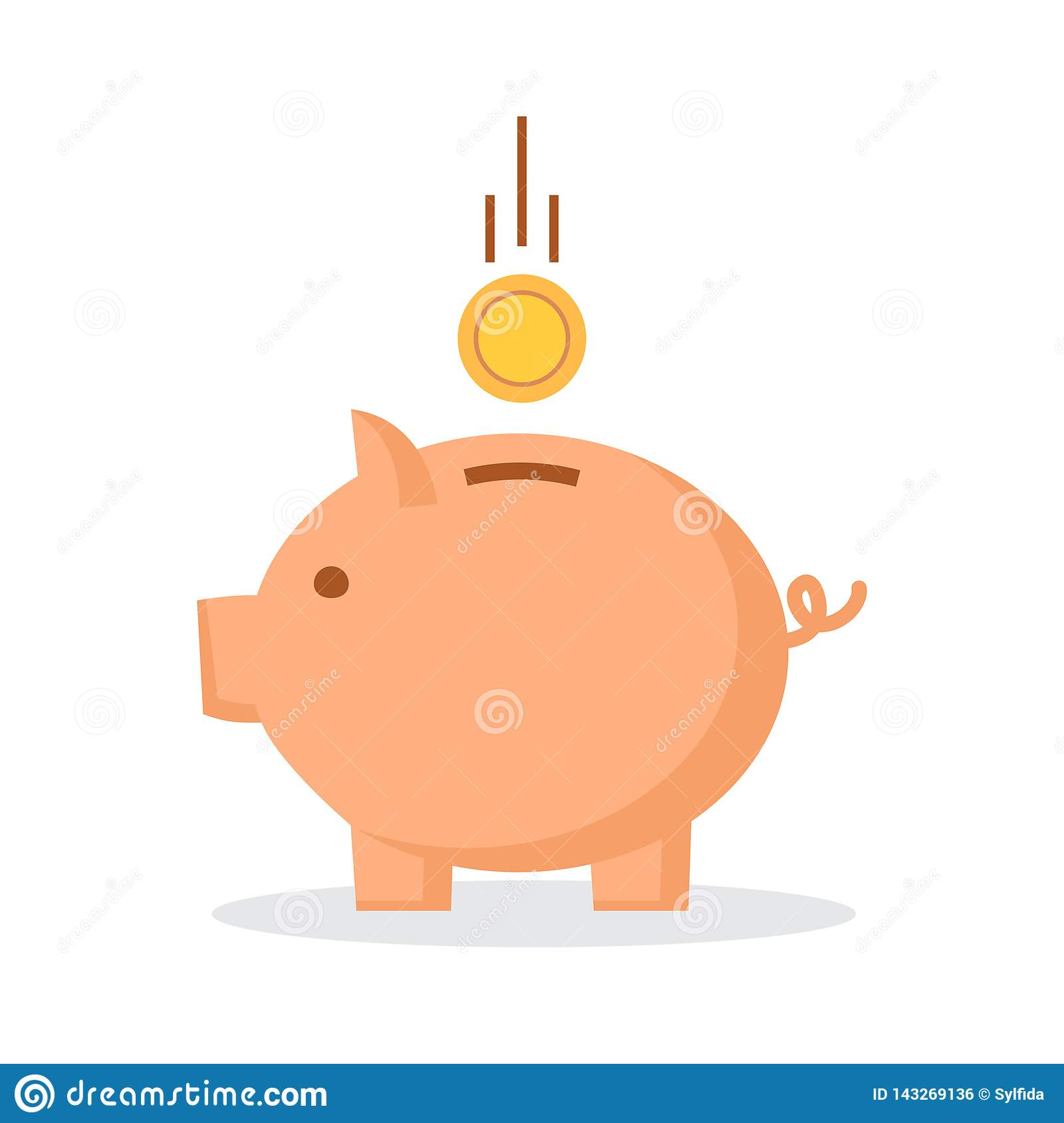 Piggy bank with coin. Vector illustration