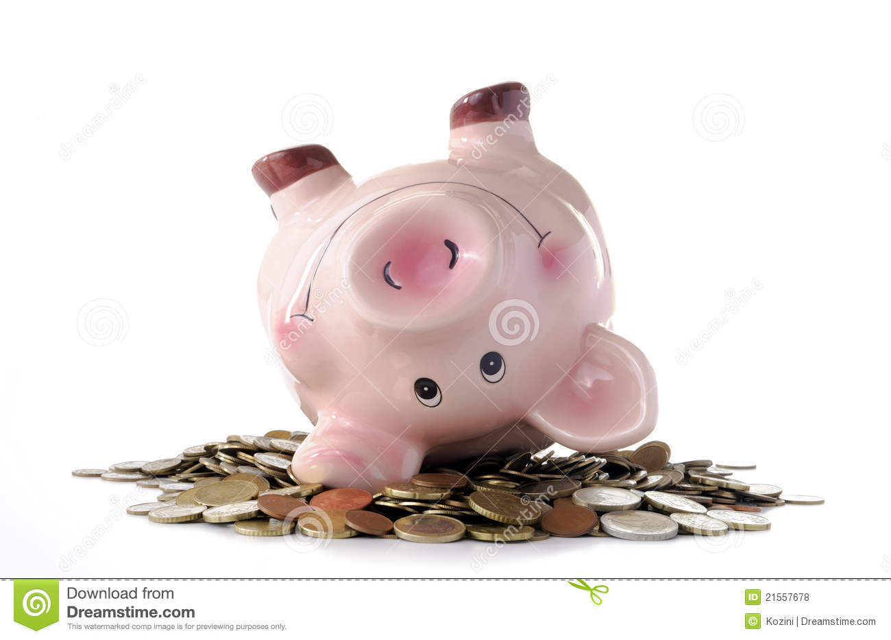 Piggy bank and coins stock photo. Image of euro, childhood ...