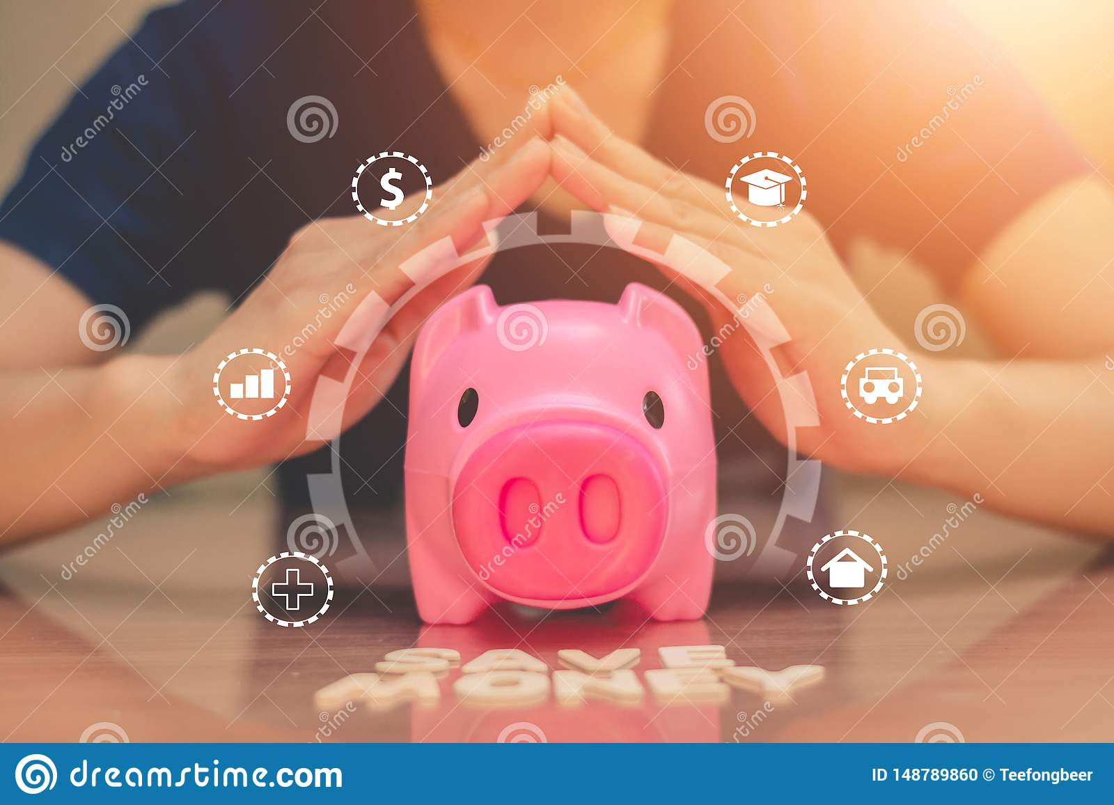 Piggy bank coins with saving money, Concept saving money for the future