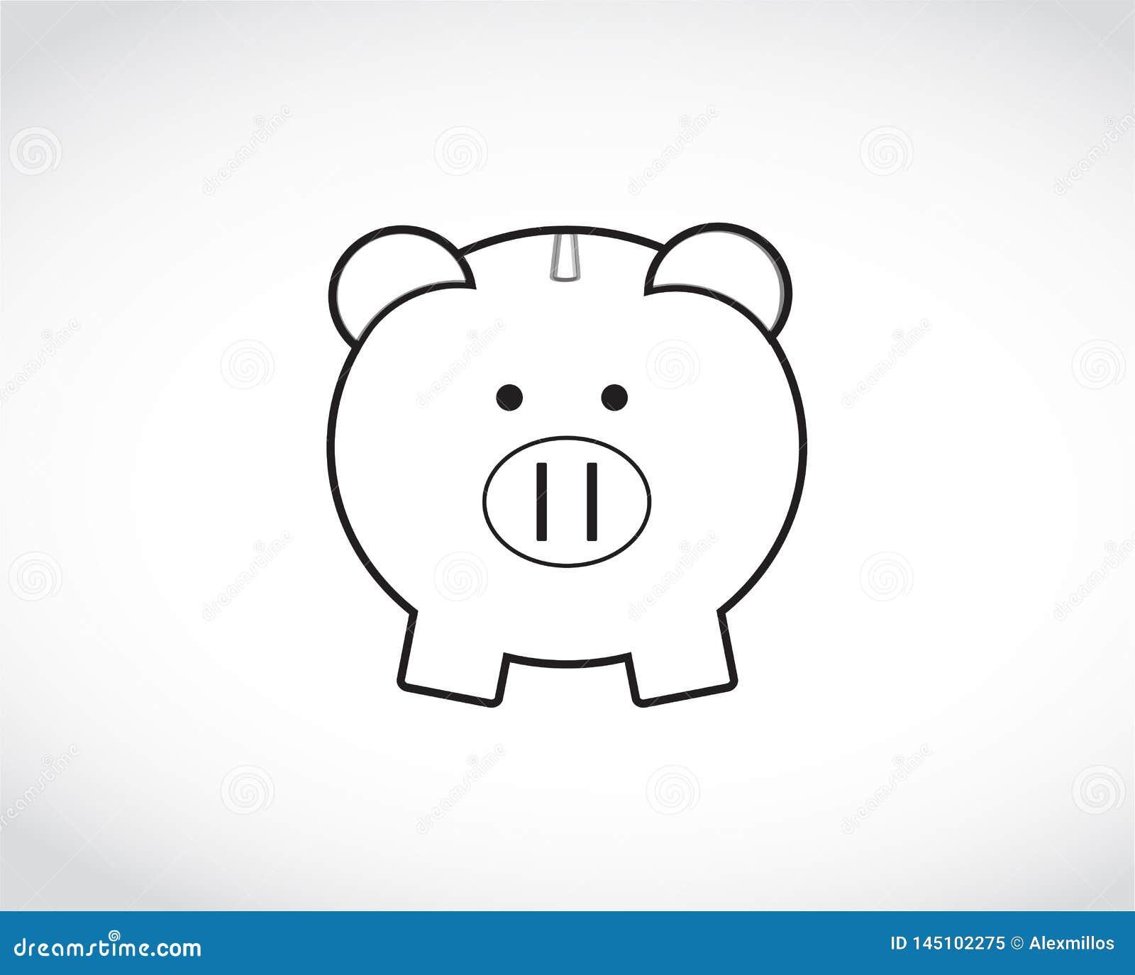 Piggy Bank drawing. Illustration