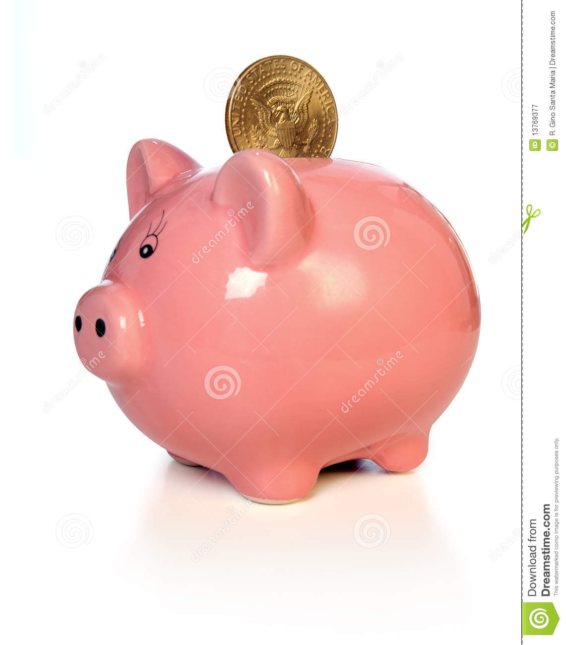 Piggy Bank With Gold Coin Stock Image. Image Of Wealth