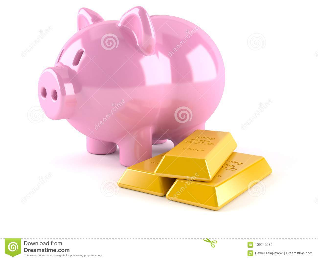 Piggy bank with gold ingots