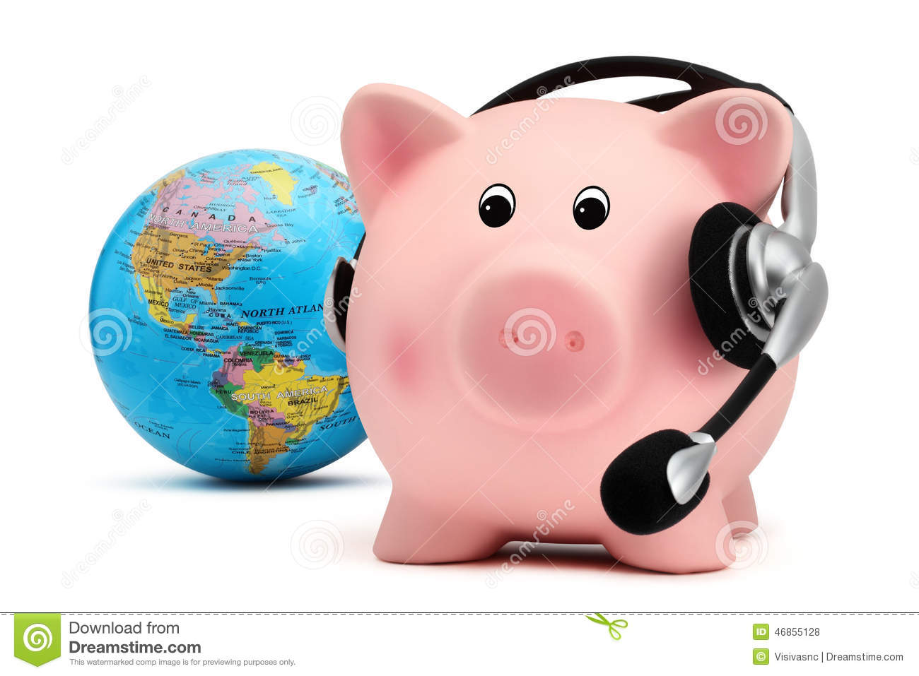 Download Piggy Bank With Headset And Globe Isolated On White Backround Stock Photo - Image of globe, brazil: 46855128