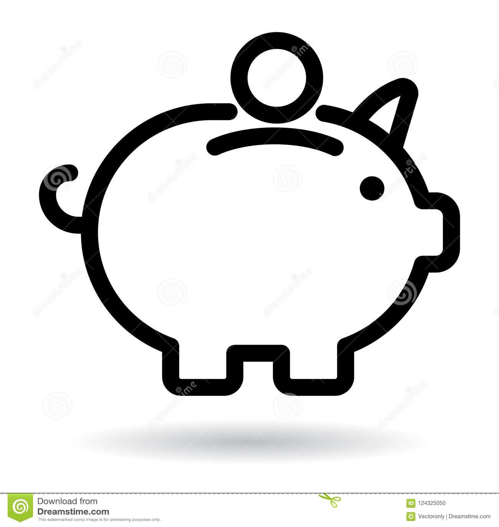 Piggy bank icon black