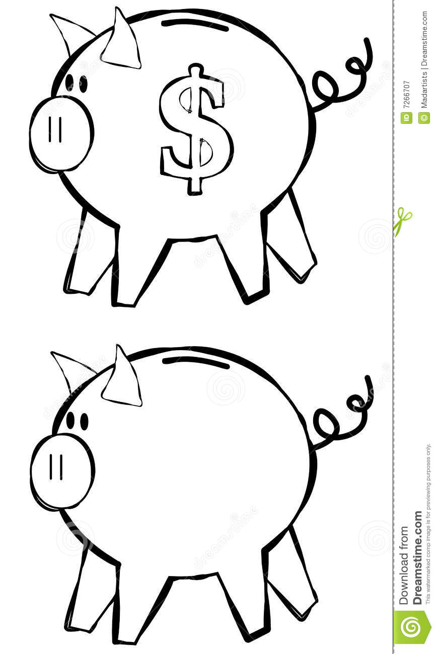 Line Drawing Piggy Bank : Piggy bank line art royalty free stock photography image