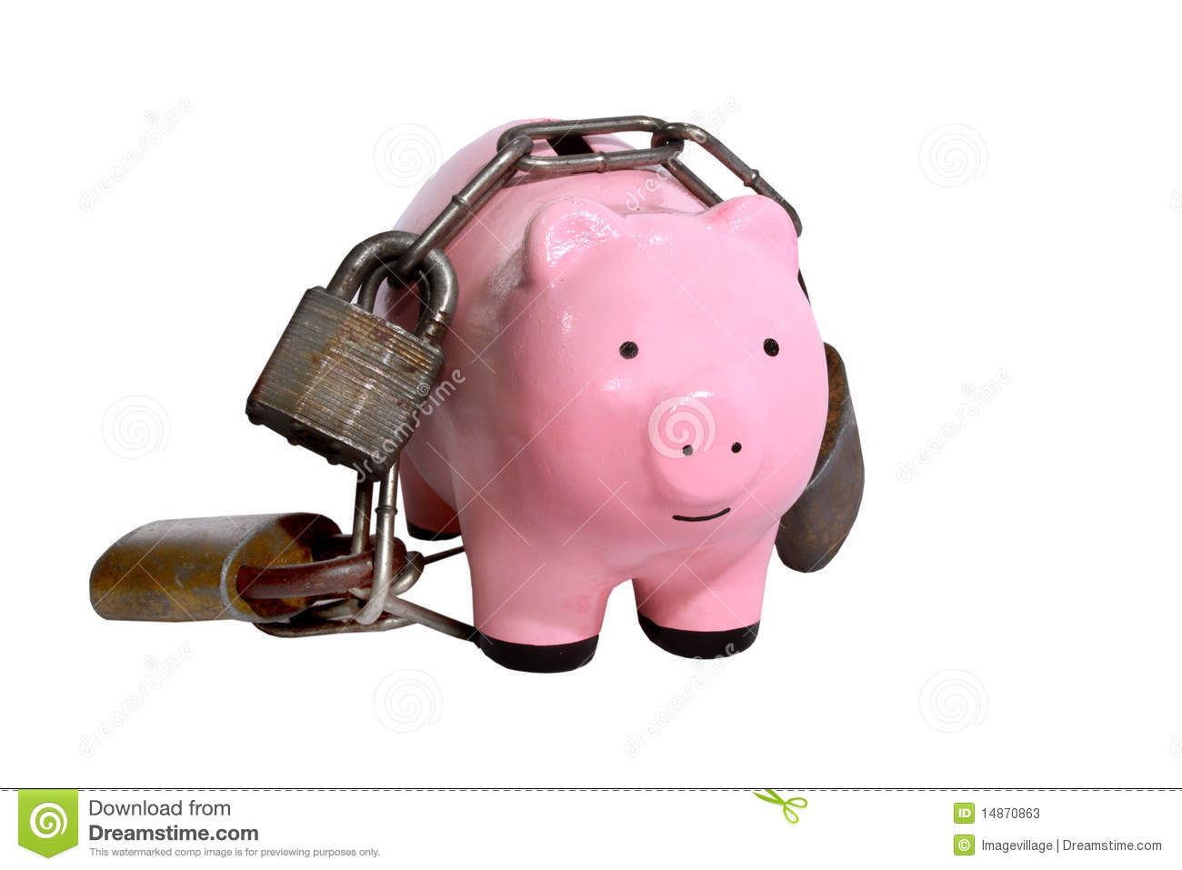 Piggy bank with locks stock photos image 14870863 for Large piggy bank with lock
