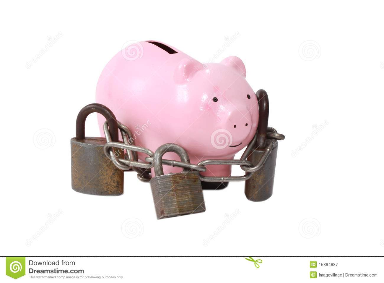 Piggy bank with locks royalty free stock photography for Large piggy bank with lock